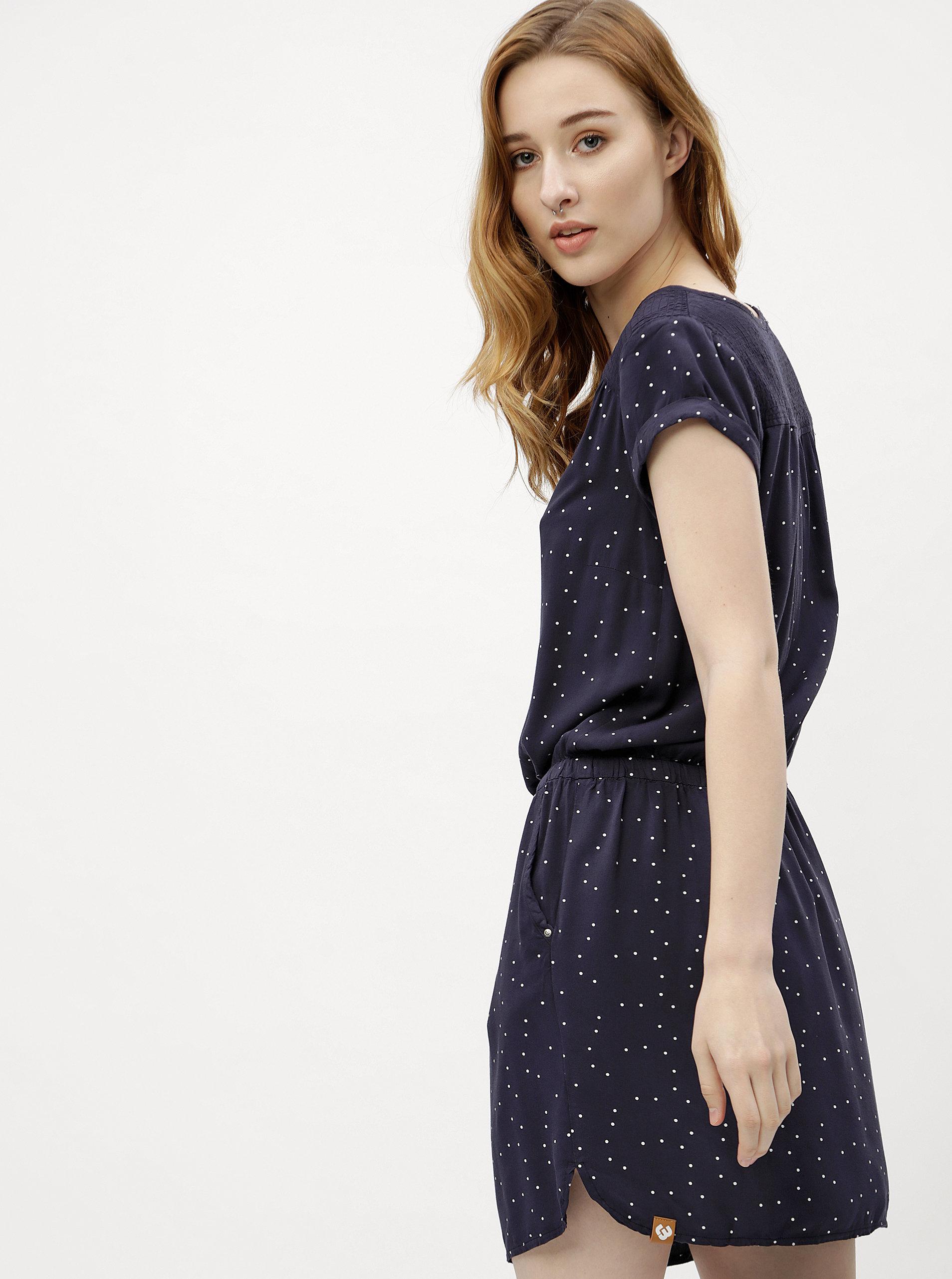 5ee0d9b2123 Tmavě modré dámské puntíkované šaty Ragwear Danila ...