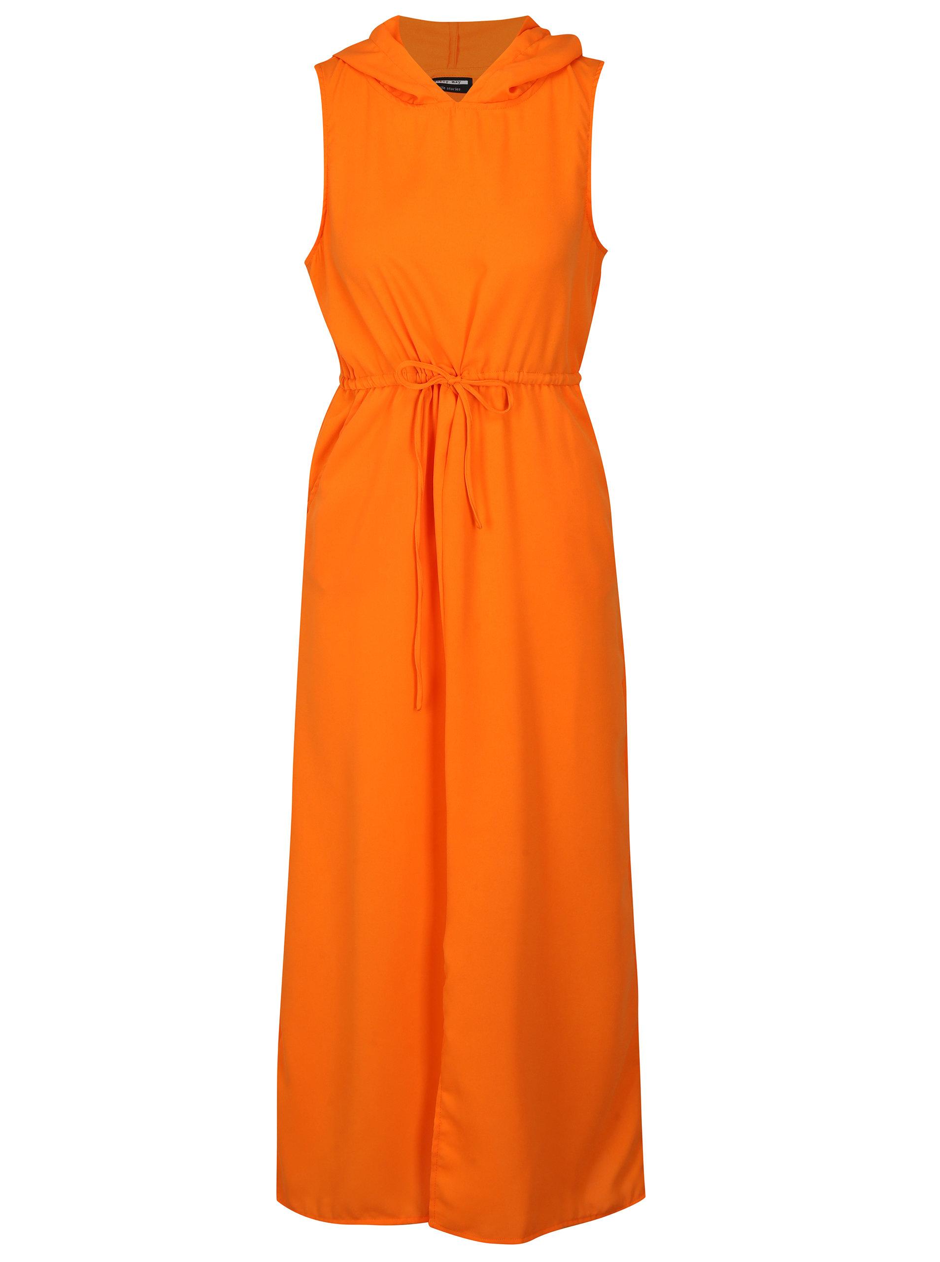 Oranžové maxišaty s kapucňou Noisy May Josephine ... b5d1e49b2aa