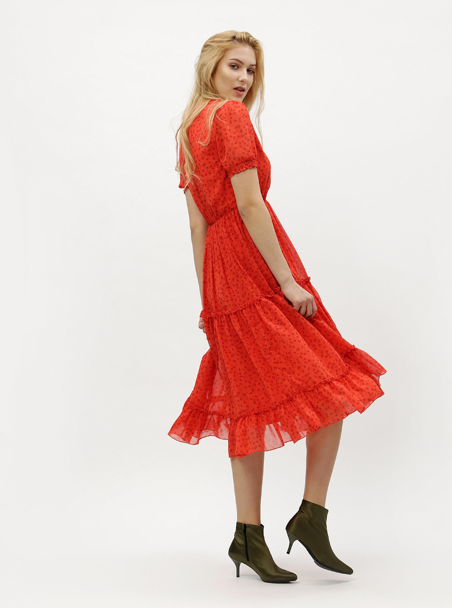 eb8657baff3 Červené květované šaty s véčkovým výstřihem VERO MODA Eve ...