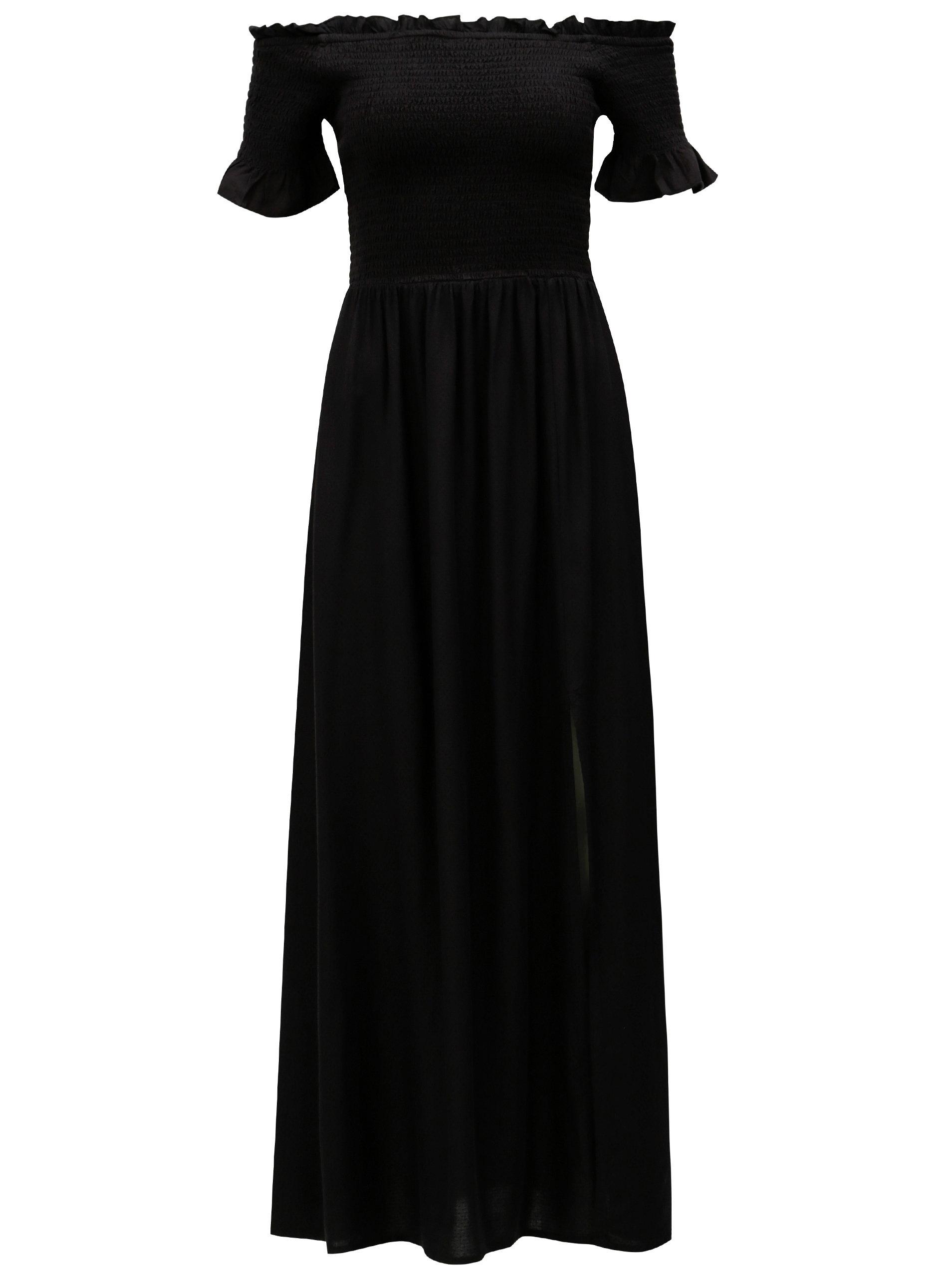 Čierne maxišaty s odhalenými ramenami VERO MODA Alexa ... 2b95d38193d