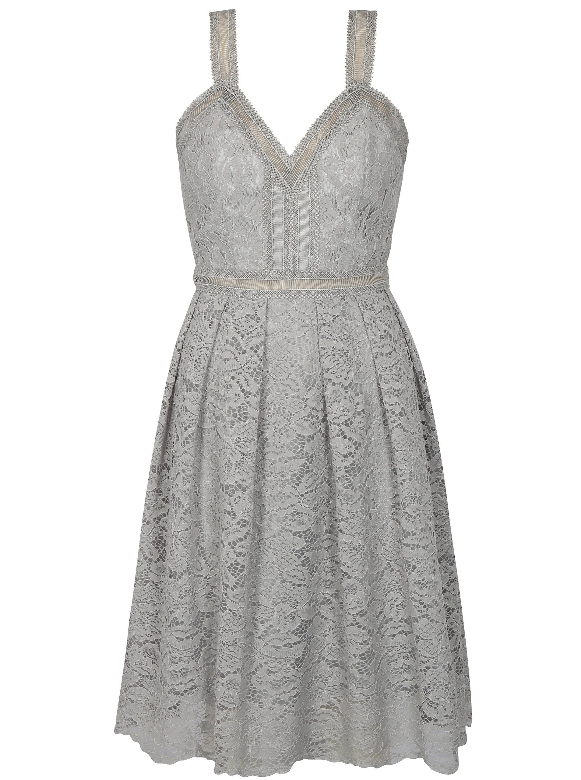 10e676f77e5c Sivé čipkované šaty Chi Chi London Leonine ...