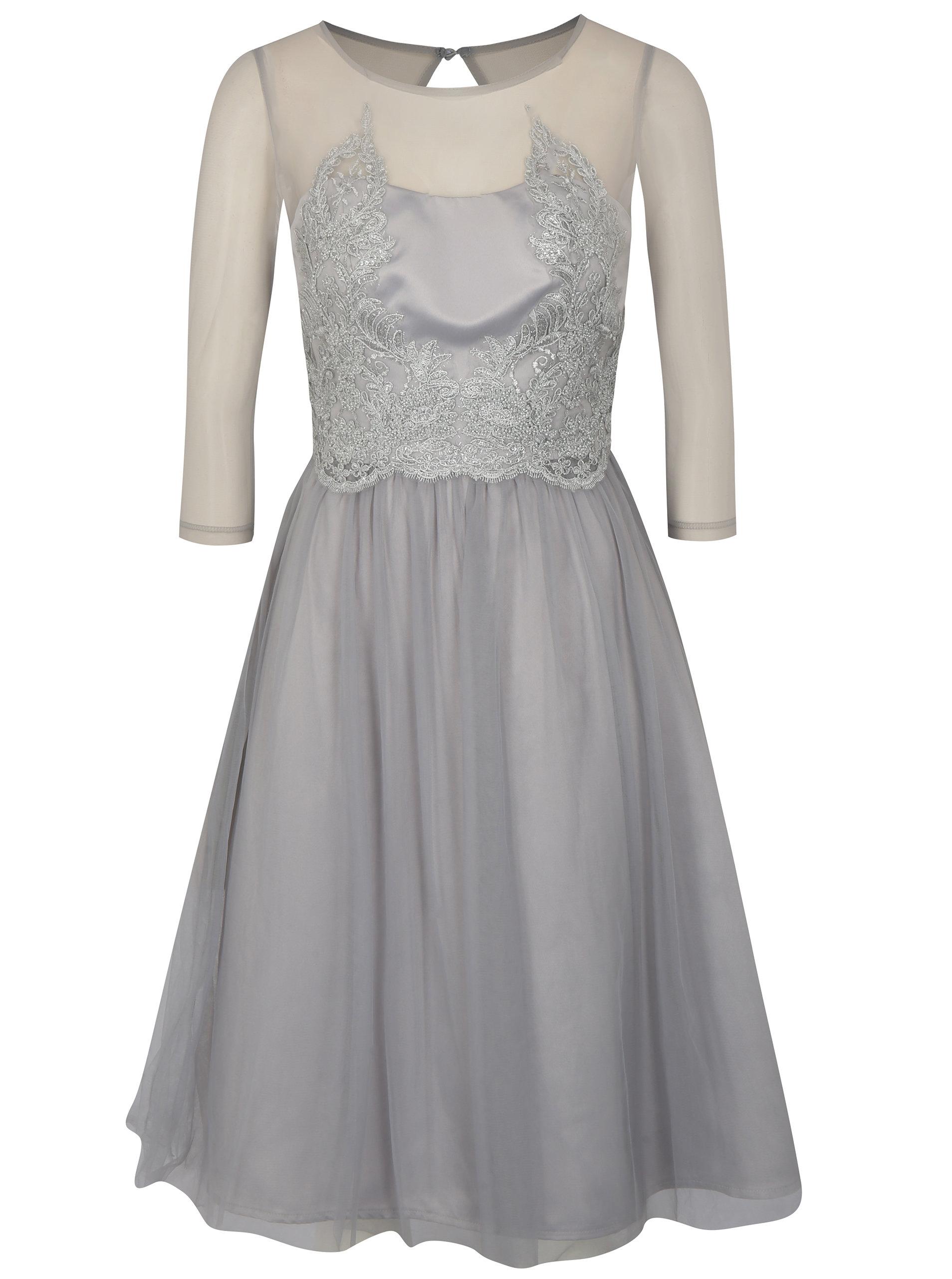 dc5fb346f7ef Sivé šaty s 3 4 rukávom Chi Chi London Andrada ...