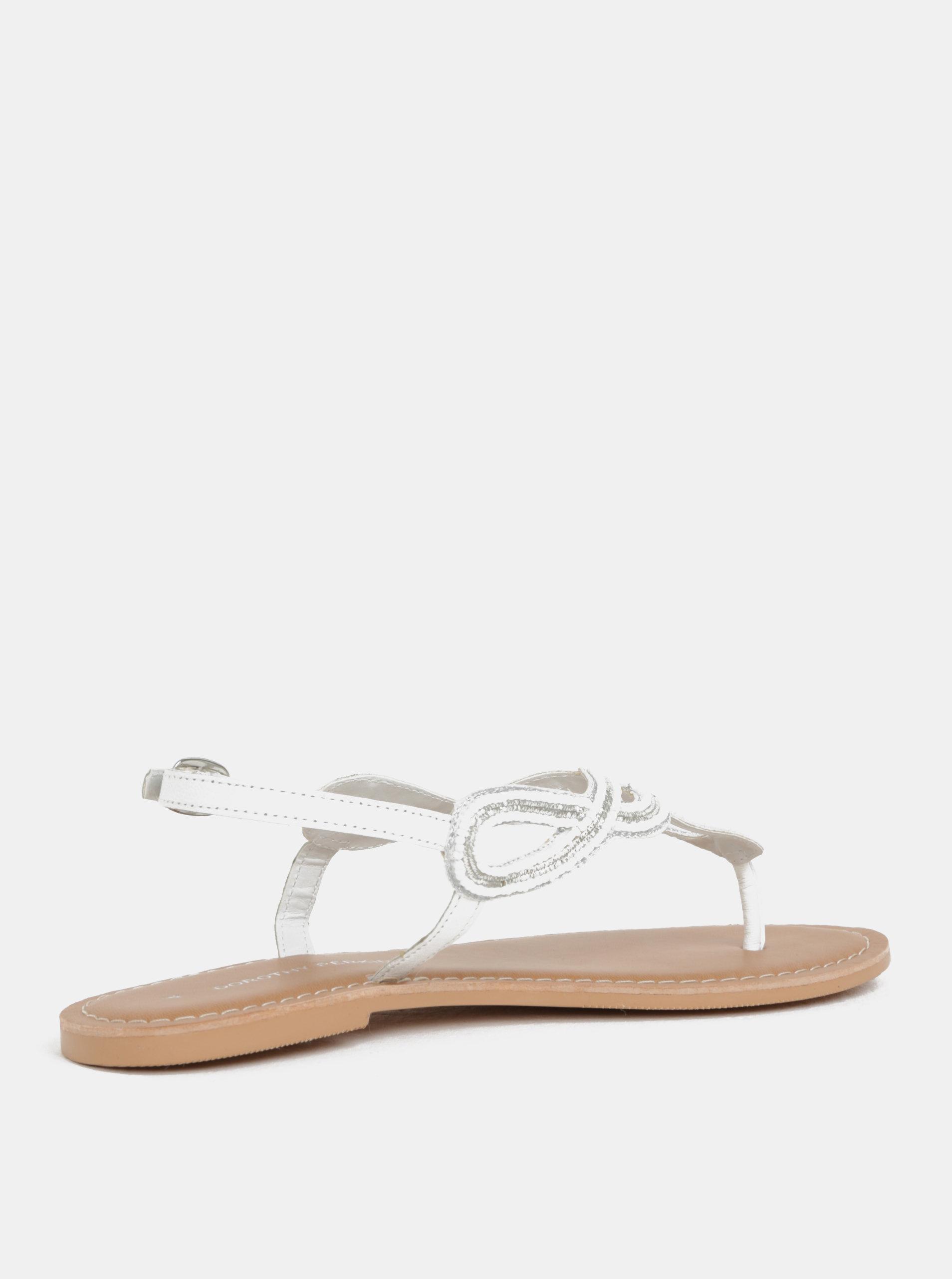 496dcca9f27b Biele kožené sandále s ozdobnými korálkami Dorothy Perkins ...