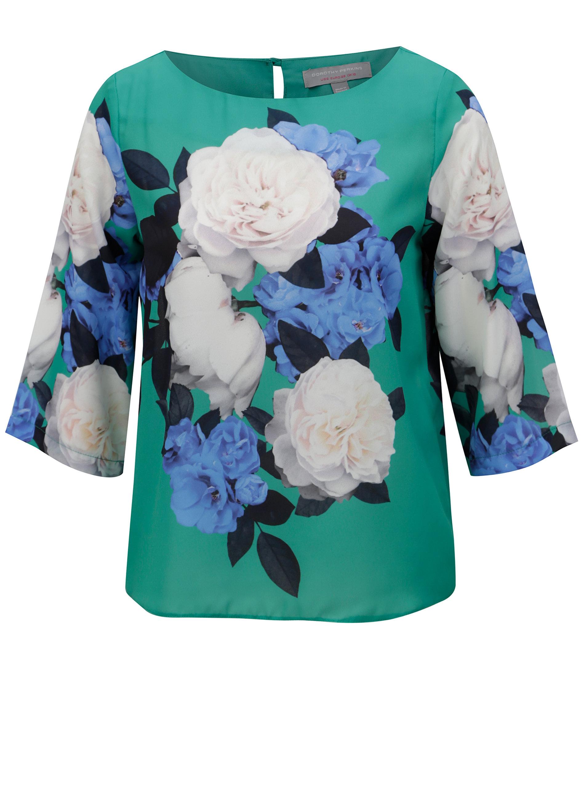 ef55dc433314 Zelená kvetovaná blúzka Dorothy Perkins Petite ...