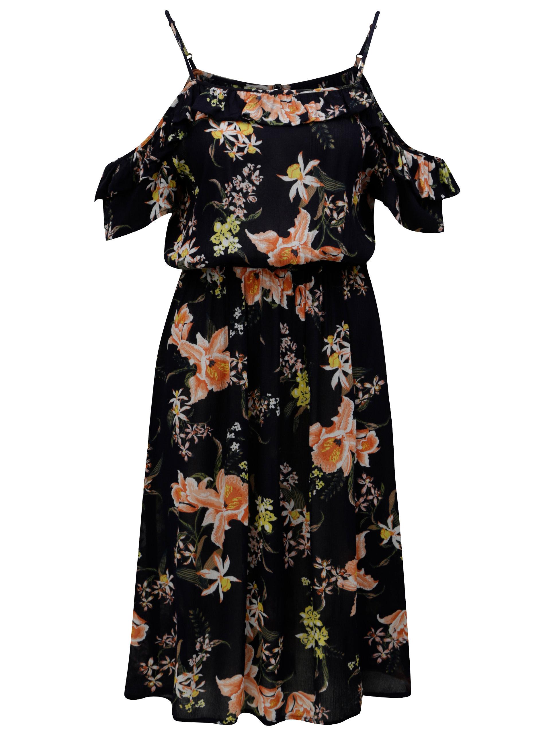 Tmavomodré kvetované šaty s odhalenými ramenami Dorothy Perkins ... 62f6cf94015