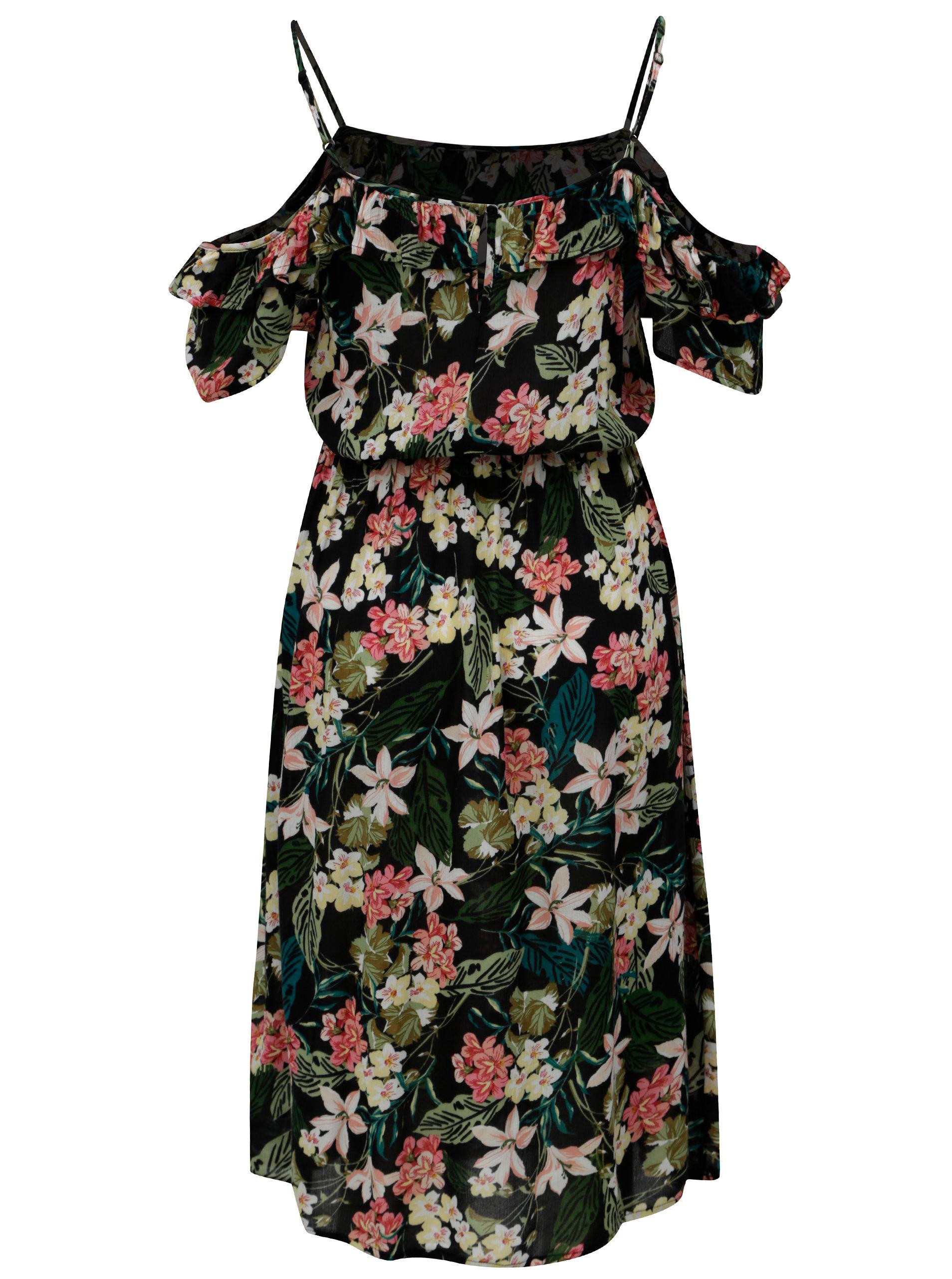 Čierne kvetované šaty s odhalenými ramenami Dorothy Perkins ... 26be3321392