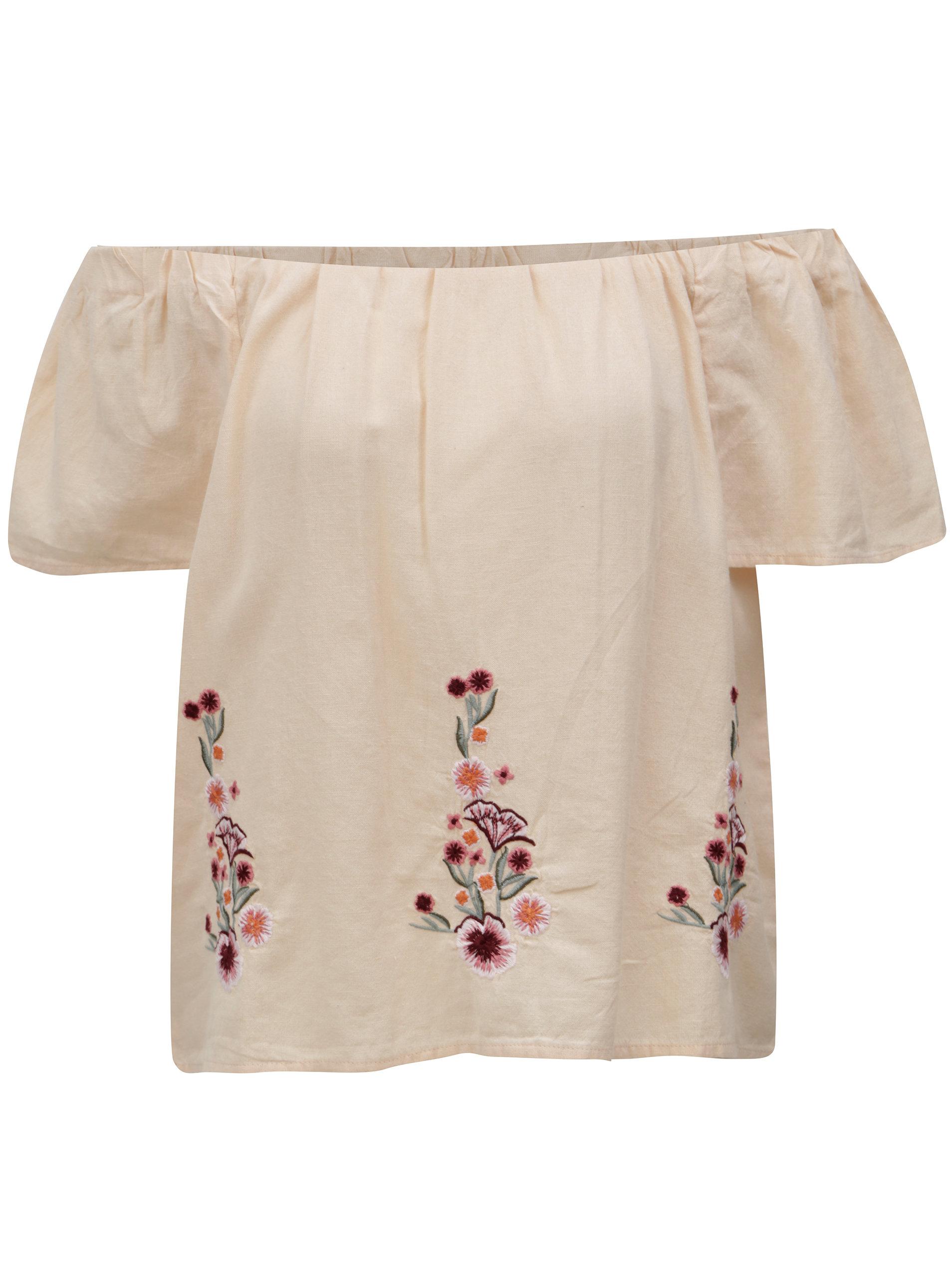 ed7e05ce49 Marhuľová blúzka s kvetovanou výšivkou a odhalenými ramenami Dorothy  Perkins ...