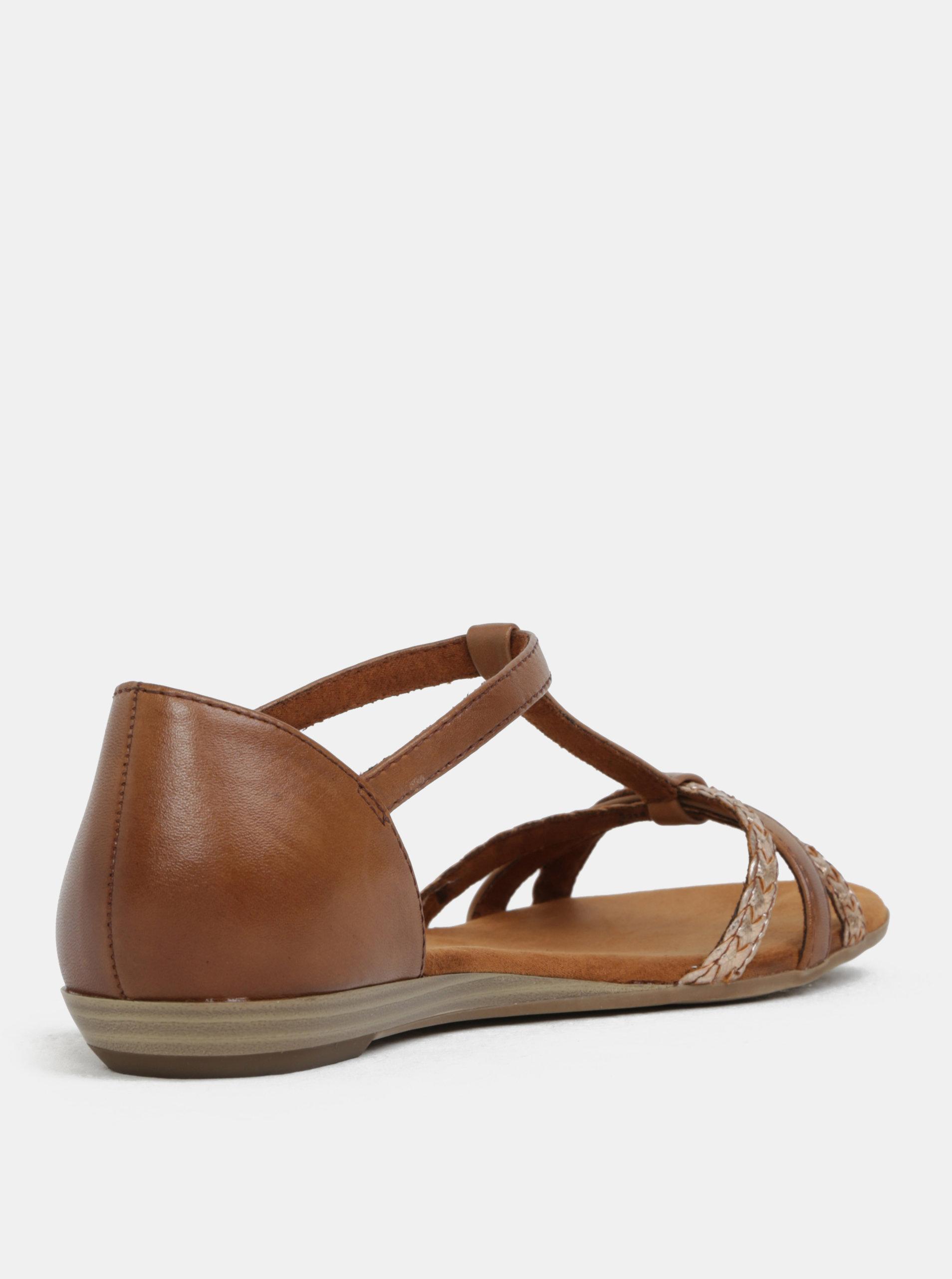 53249dbfbe Hnedé kožené sandále Tamaris ...