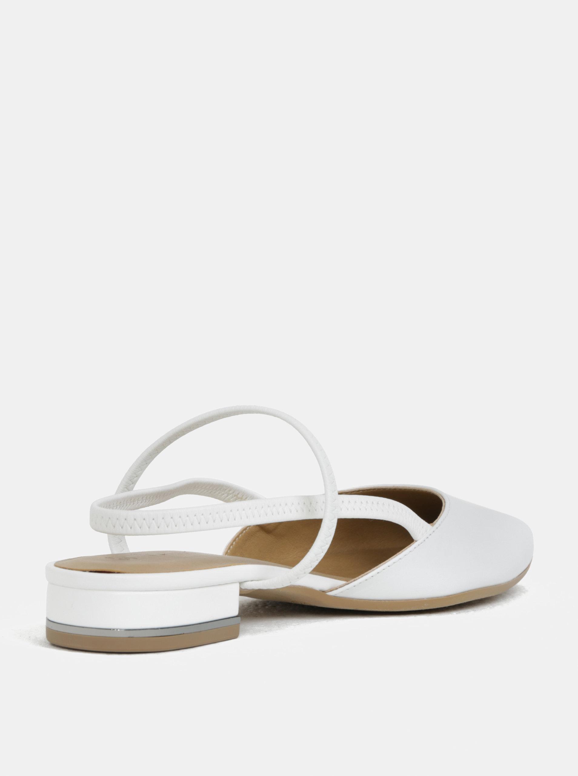166c294e4a Biele kožené sandále s plnou špičkou Tamaris ...