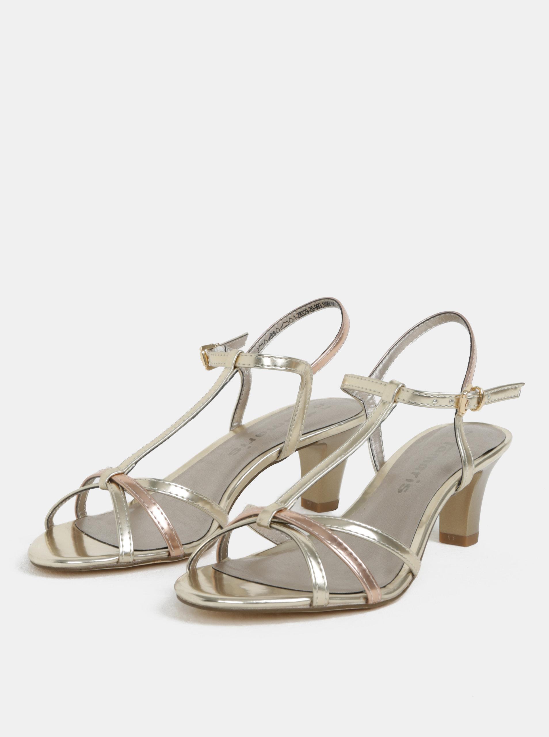 e095197f95d76 Sandále v zlatej farbe na nízkom podpätku Tamaris | ZOOT.sk