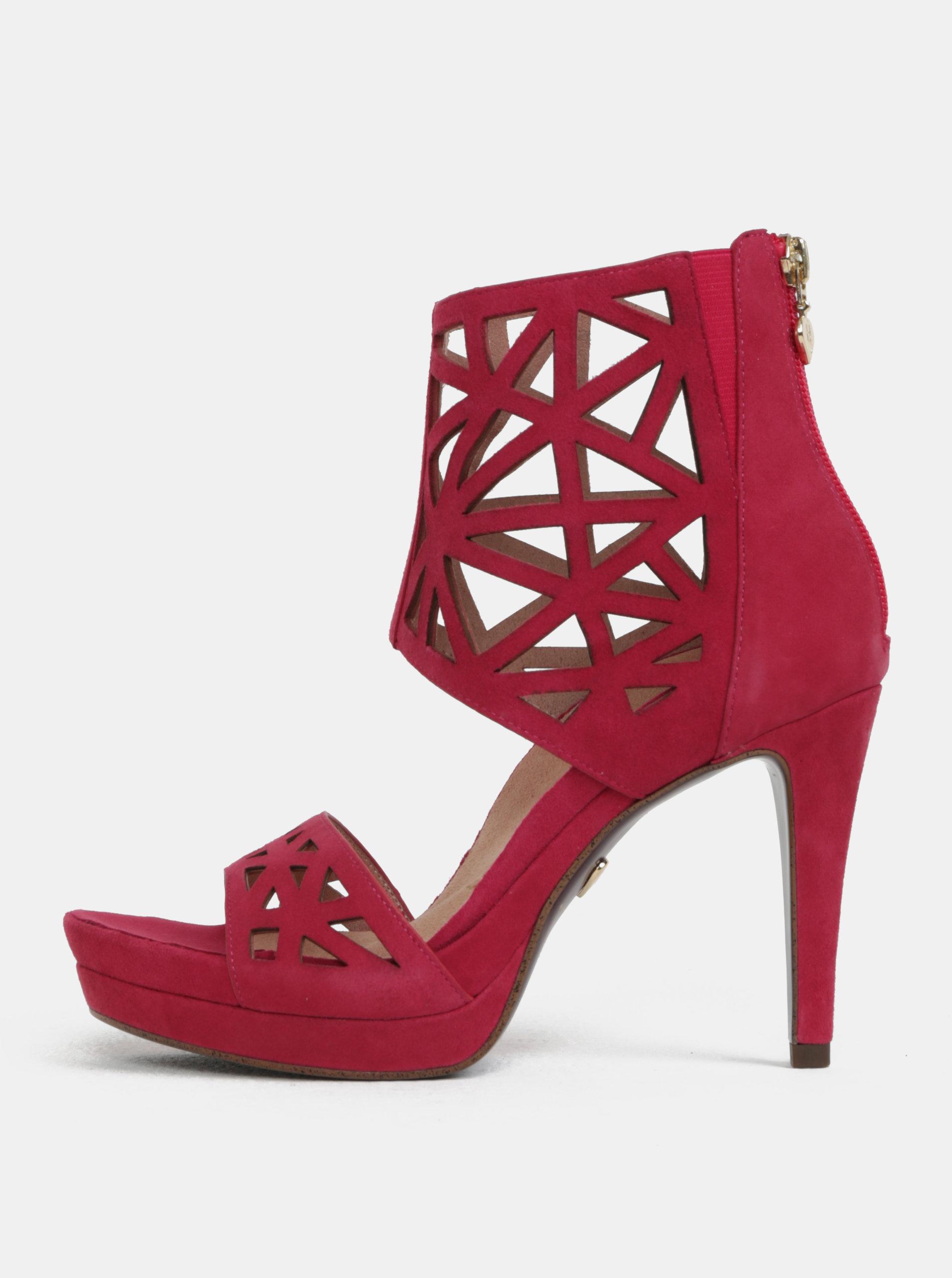 0c6fc53bb667 Tmavě růžové semišové sandálky na vysokém podpatku Tamaris ...