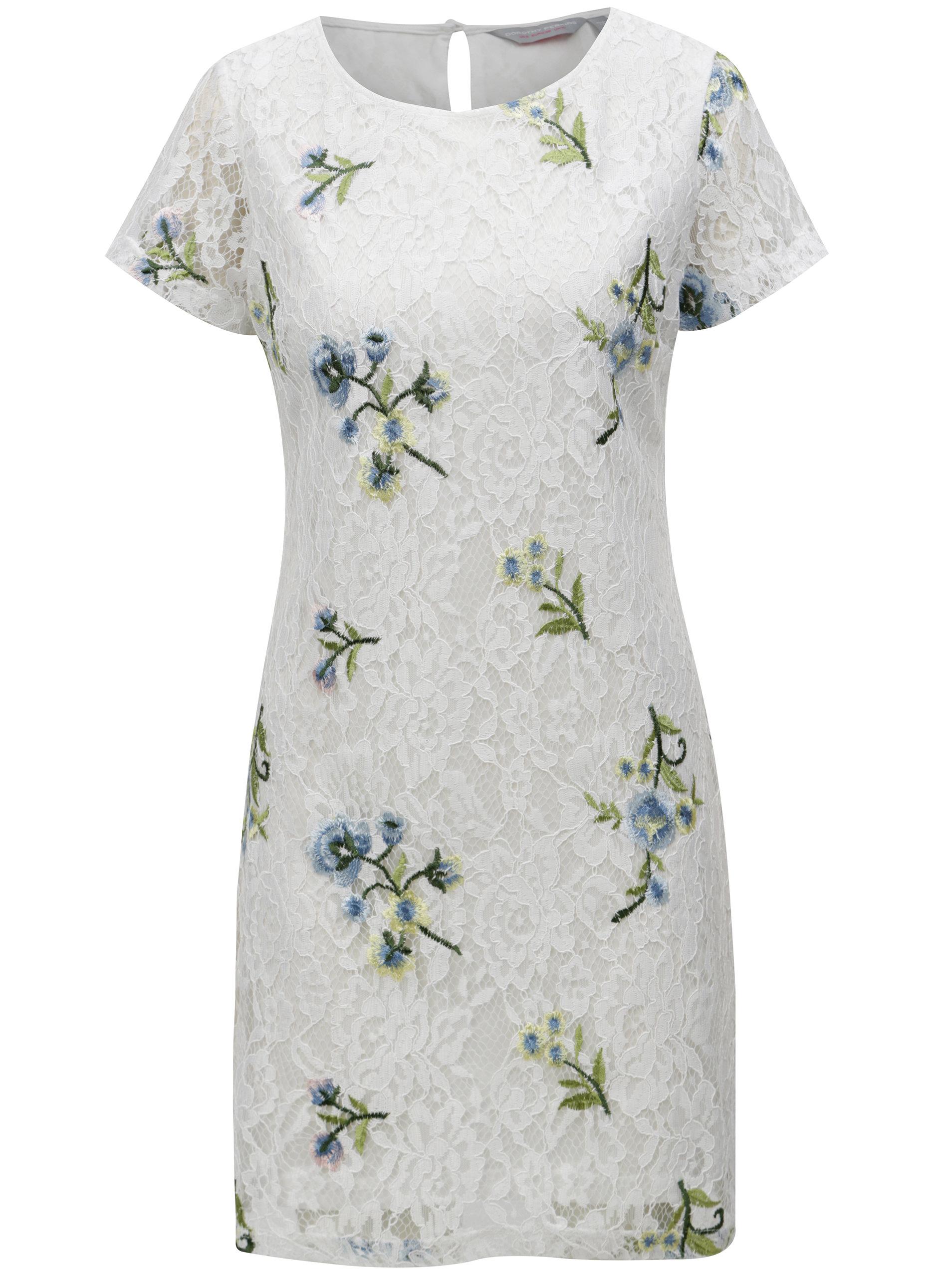 Biele kvetované čipkované šaty Dorothy Perkins Petite ... 3f3da70a158