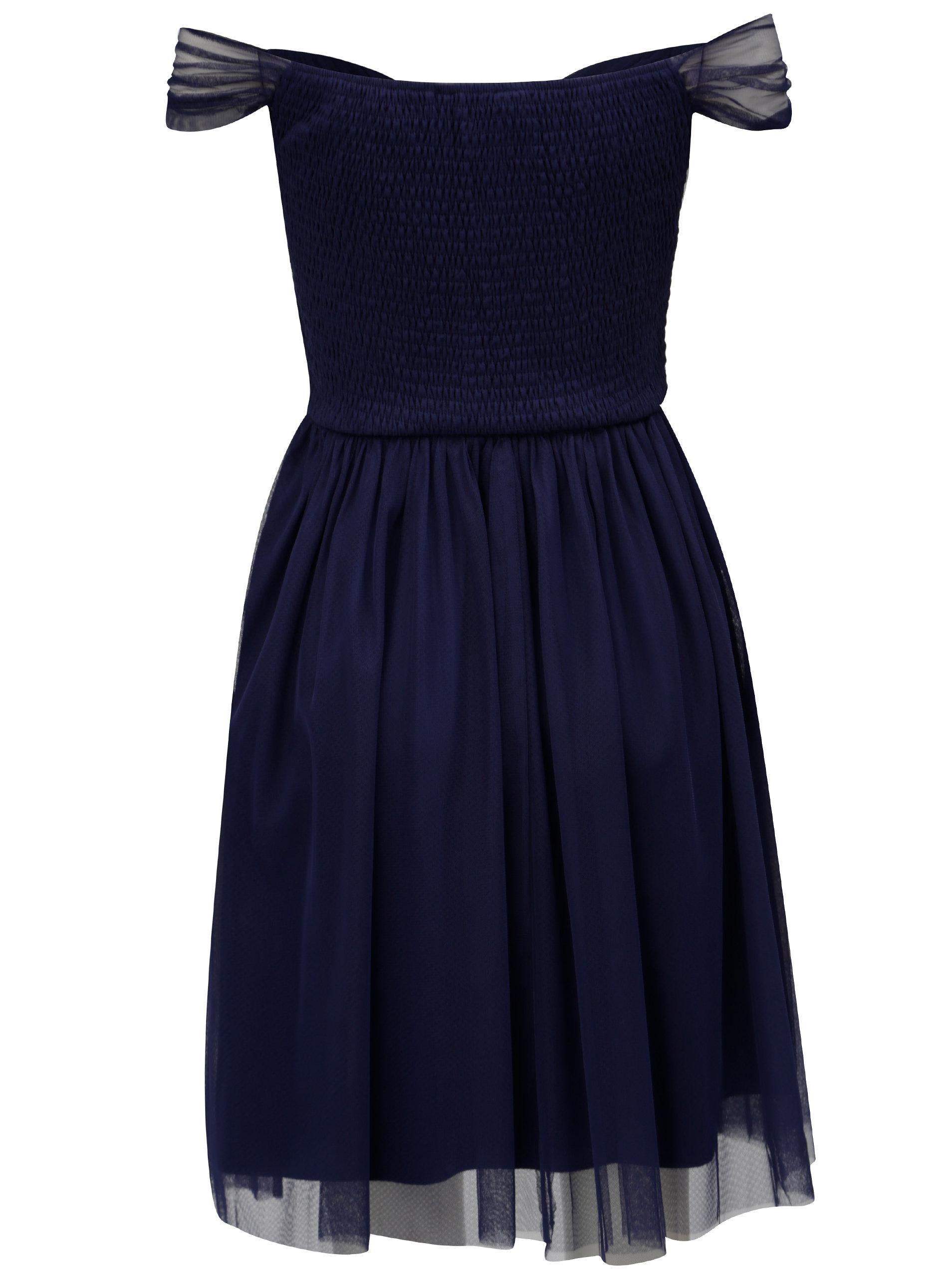 289359b5b720 Tmavě modré tylové šaty s odhalenými rameny Dorothy Perkins ...