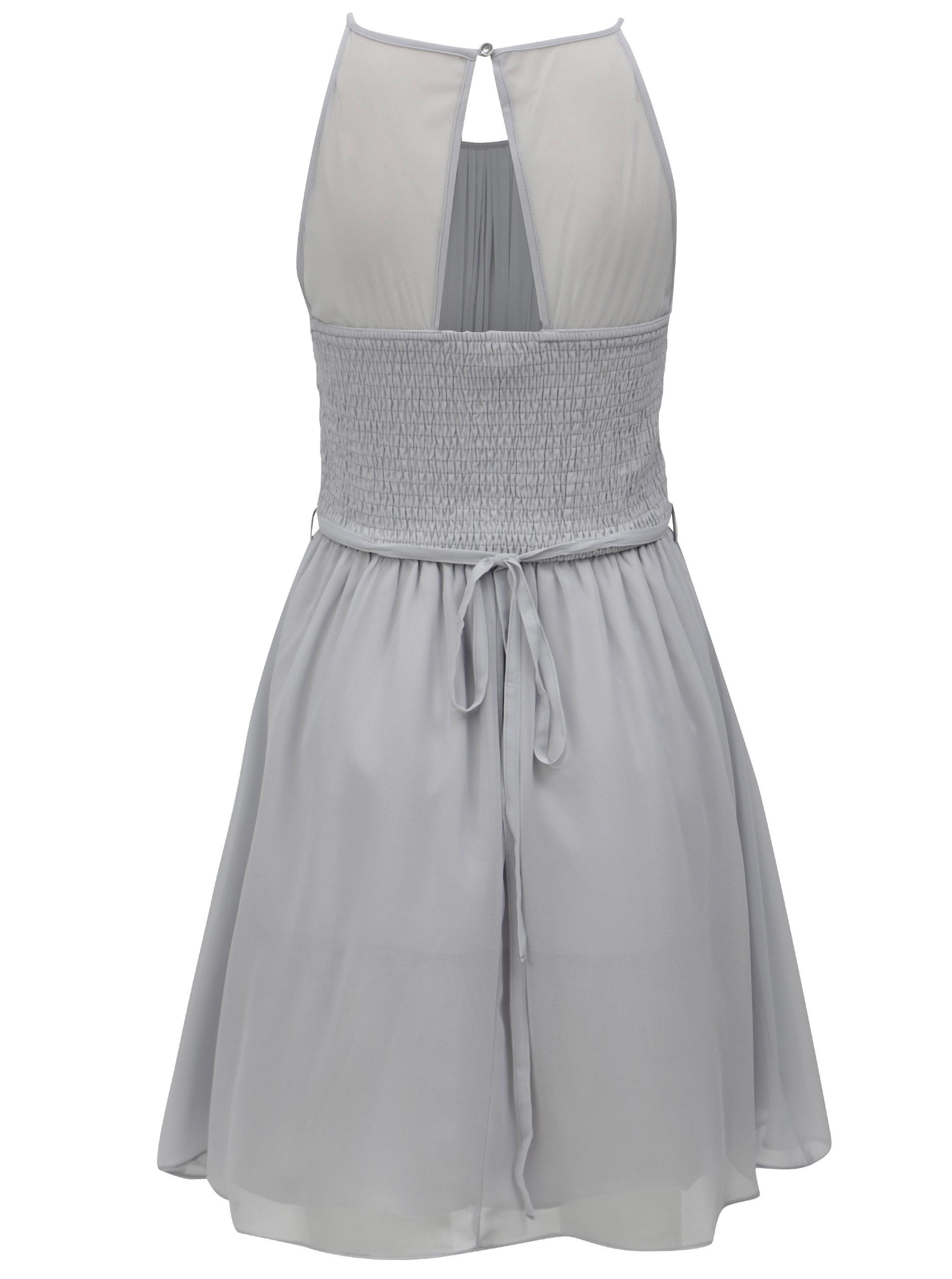 Šedé šaty s průstřihem na zádech Dorothy Perkins ... 8892a15bef