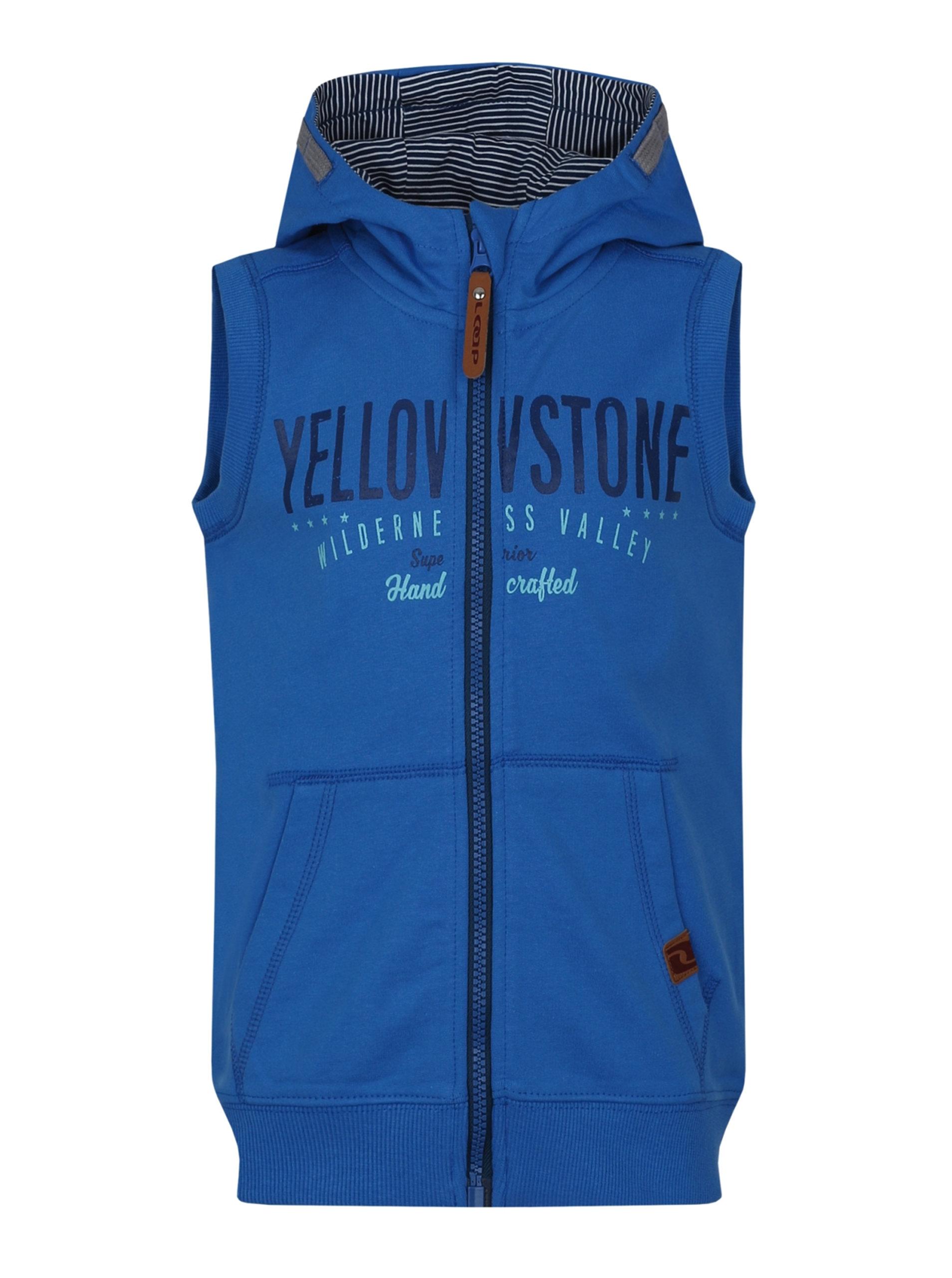 cb6de0a70370 Modrá chlapčenská mikinová vesta s kapucňou LOAP Hytek ...