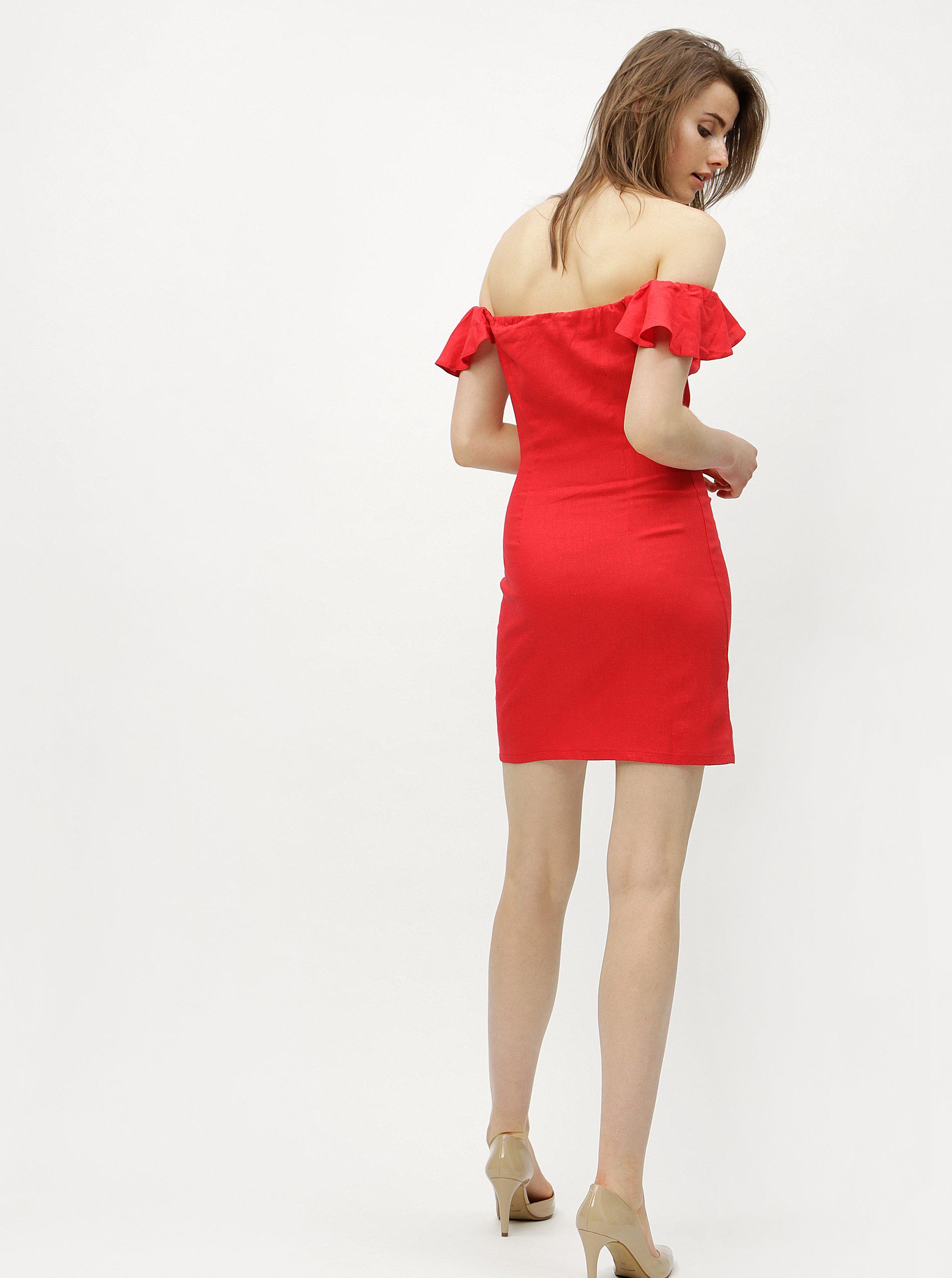 29d948a596c6 Červené ľanové šaty s odhalenými ramenami Miss Selfridge Button ...