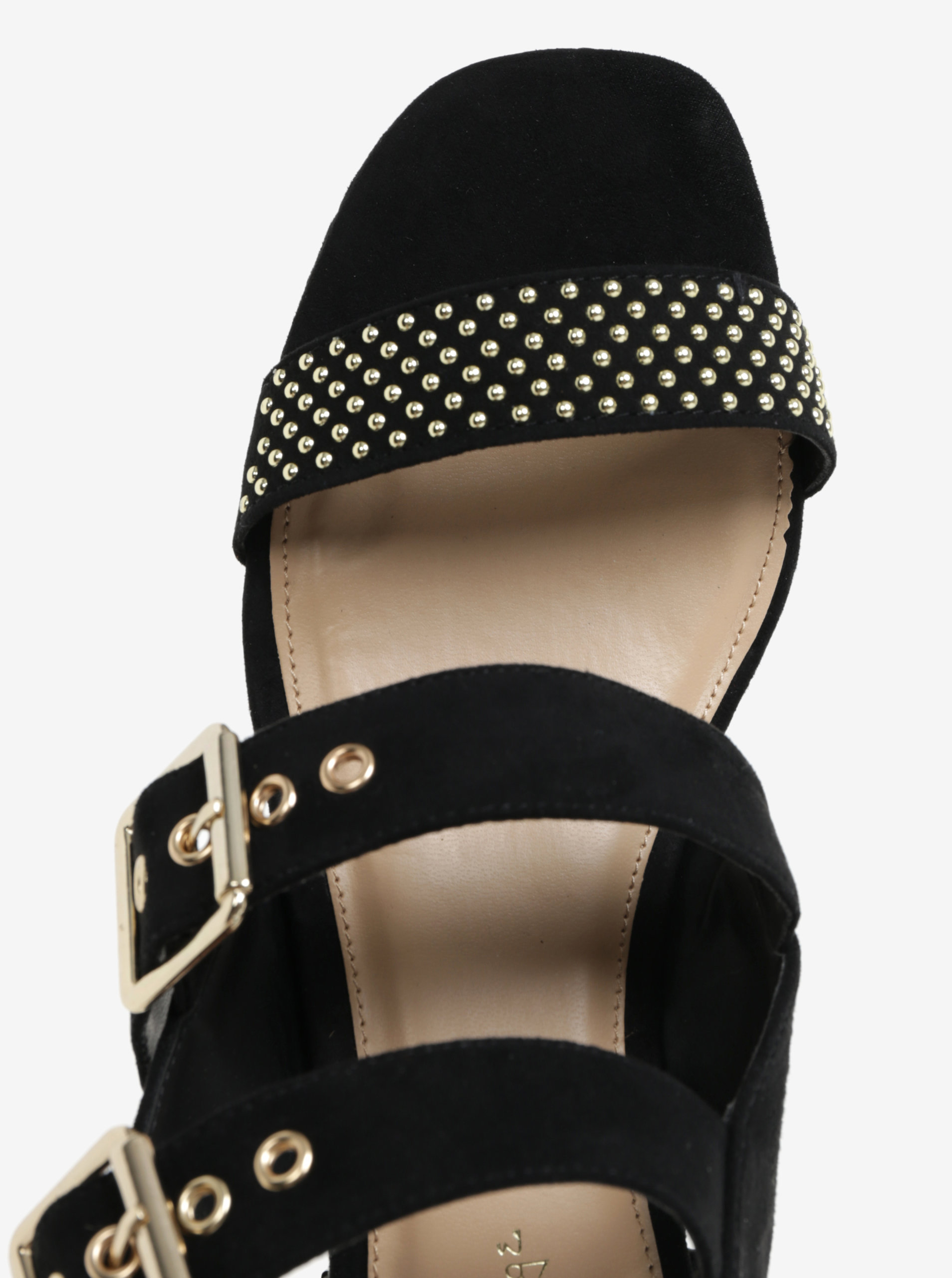 b5c1180a3446 Čierne sandále v semišovej úprave s detailmi v zlatej farbe miss Selfridge  ...