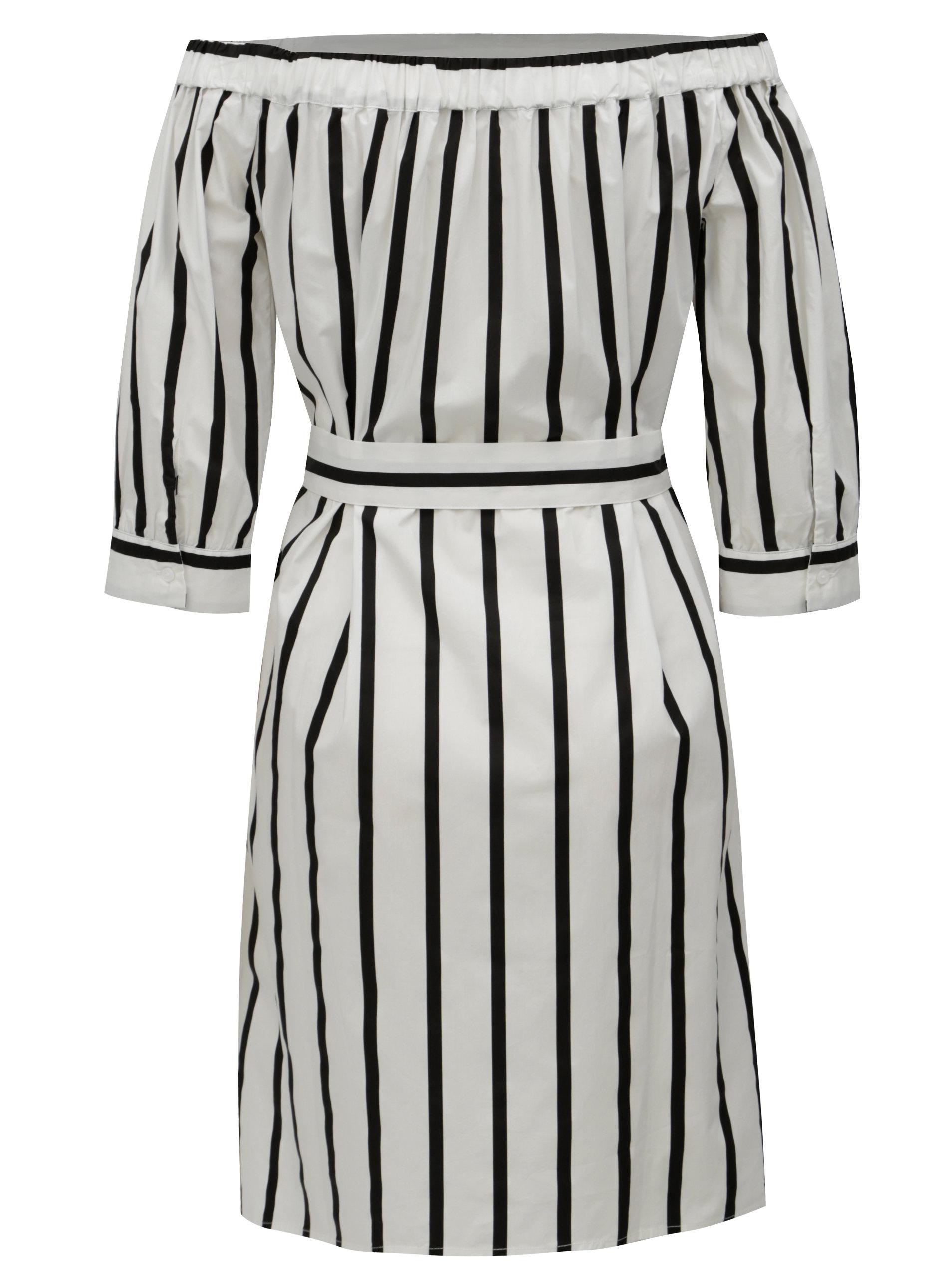 ... Bílé pruhované šaty s odhalenými rameny Selected Femme Nadine ... 62ac90d333