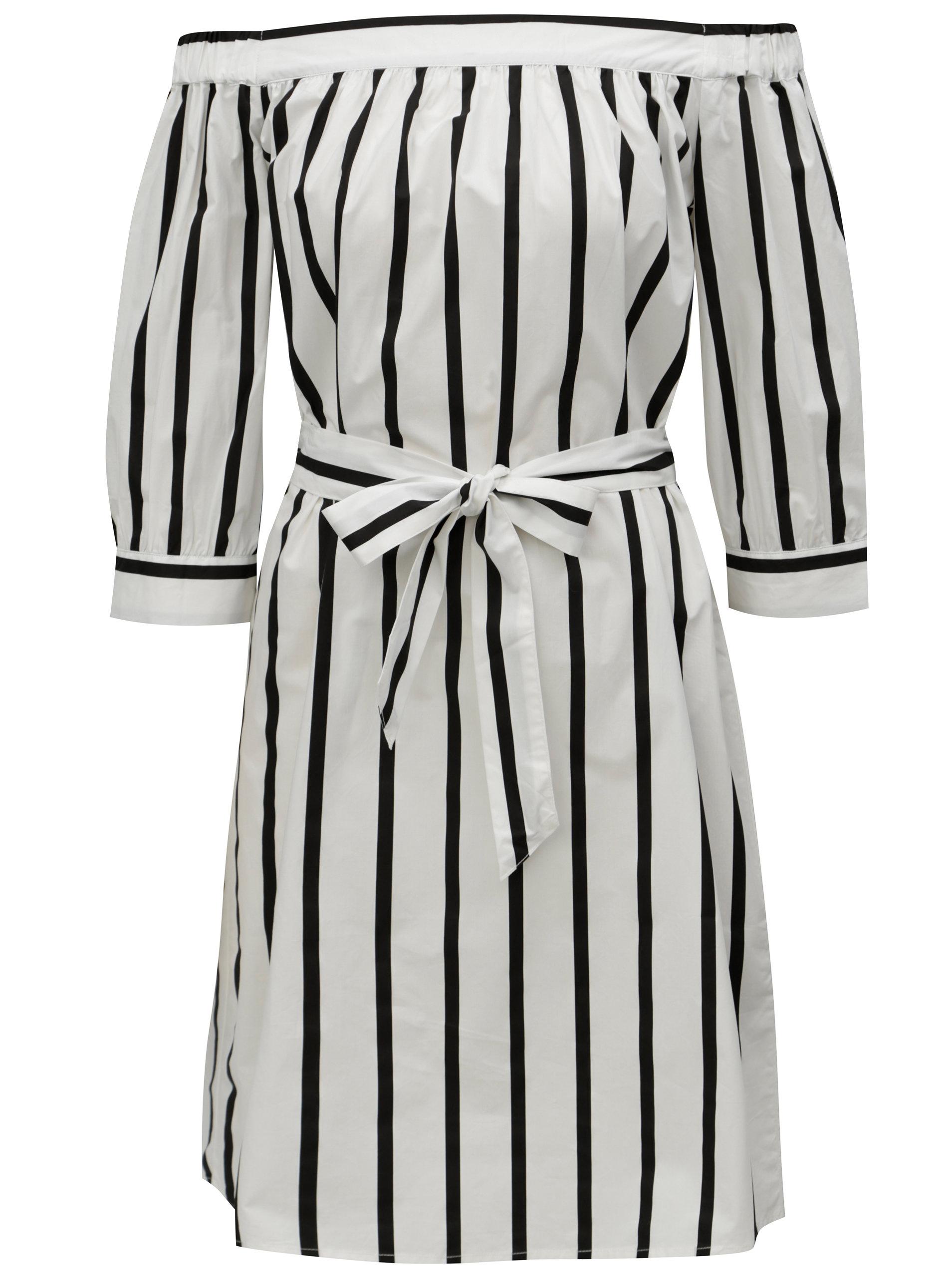 Bílé pruhované šaty s odhalenými rameny Selected Femme Nadine ... a5ba53ac76