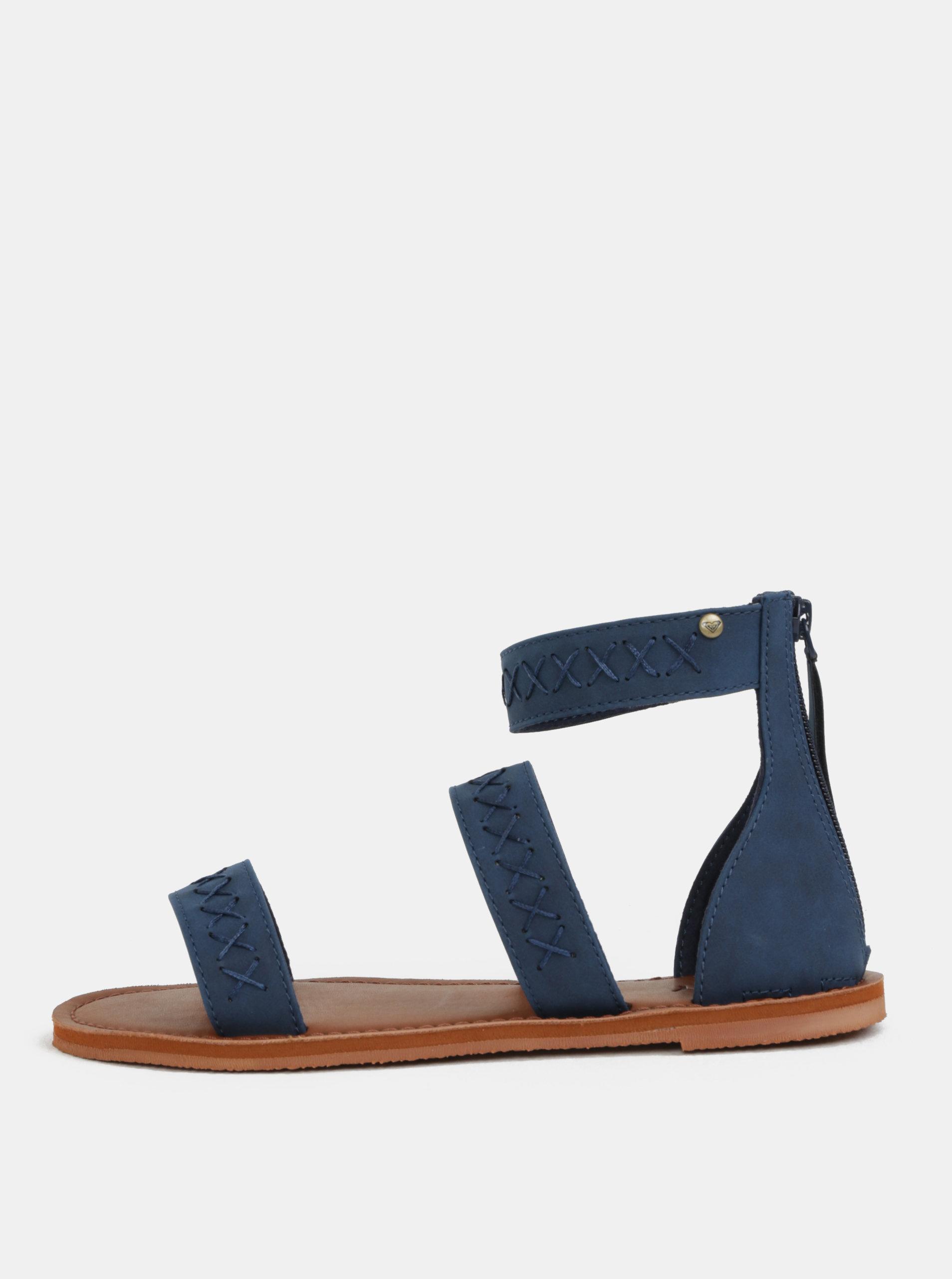 6a180bfccdea Tmavomodré sandále s prešívaným vzorom Roxy Natalie ...