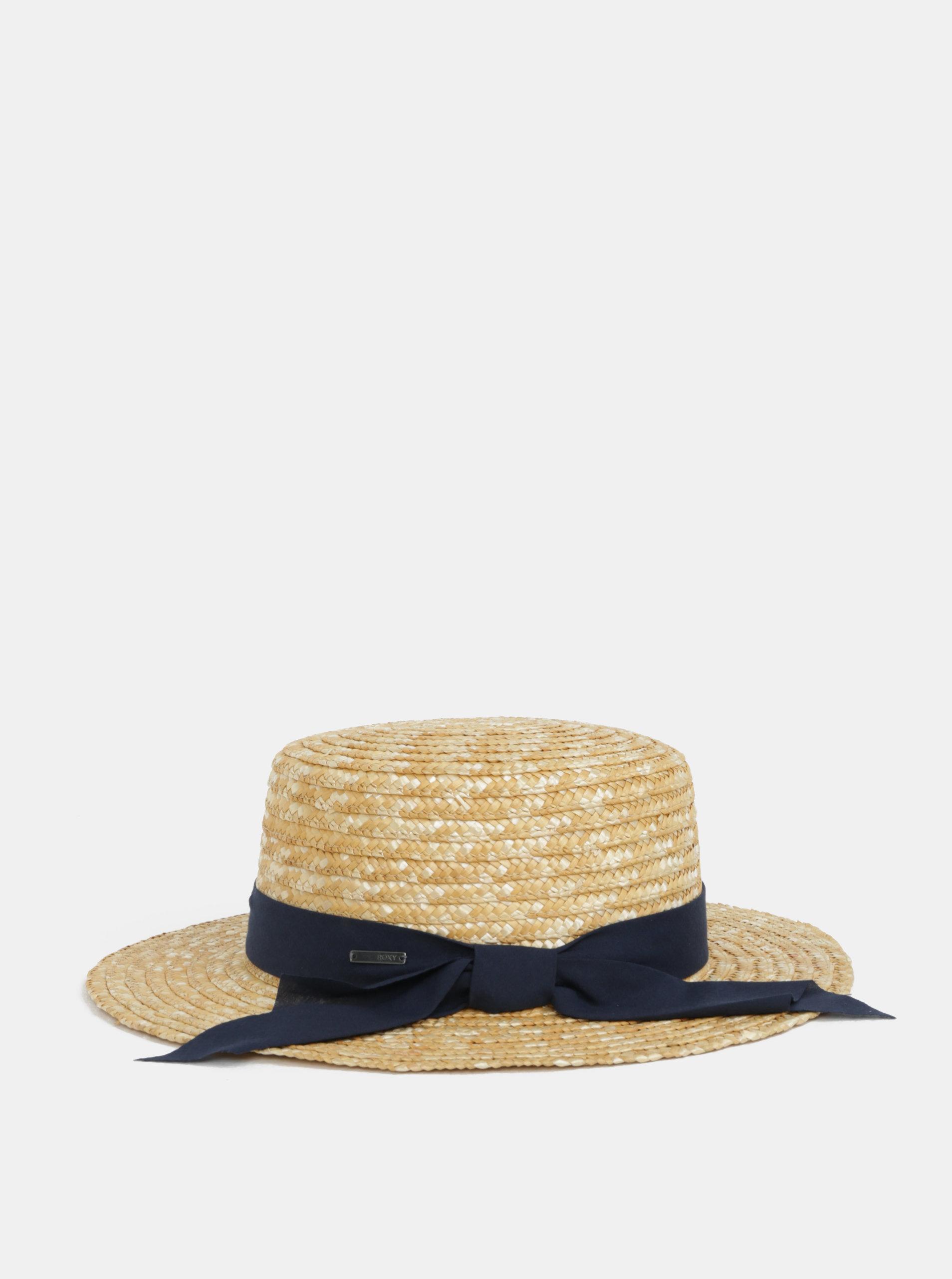 Světle hnědý dámský klobouk s modrou stuhou Roxy Dre Like ... e8a33ad3ee