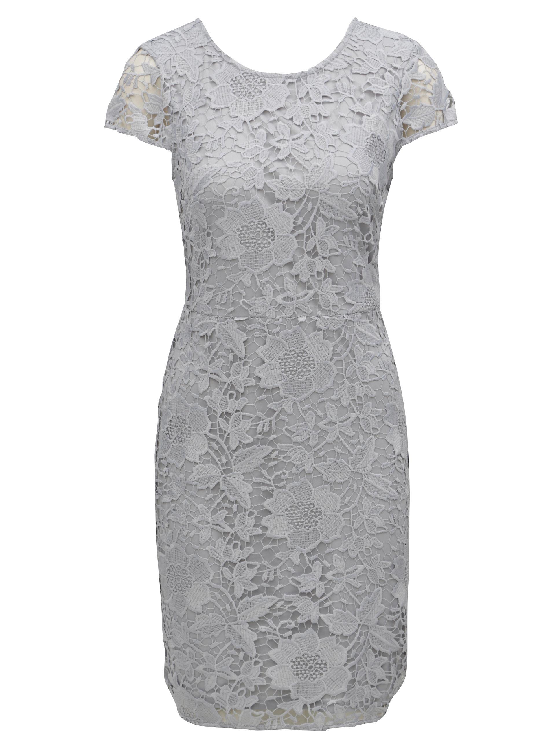Sivé čipkované puzdrové šaty Dorothy Perkins ... 54b7cec3f30