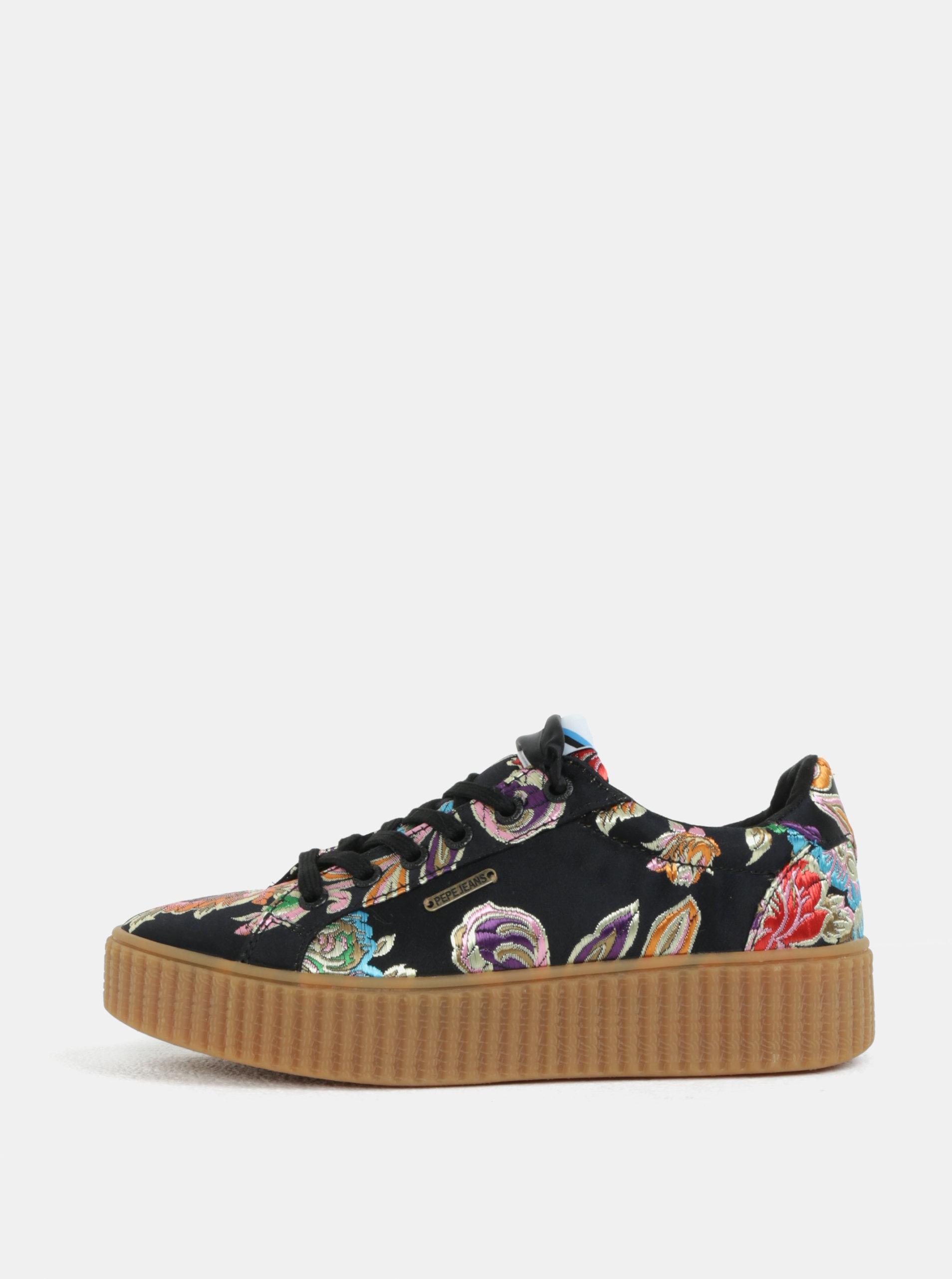 Černé dámské květované tenisky na platformě Pepe Jeans Frida orient ... 58ff40647c