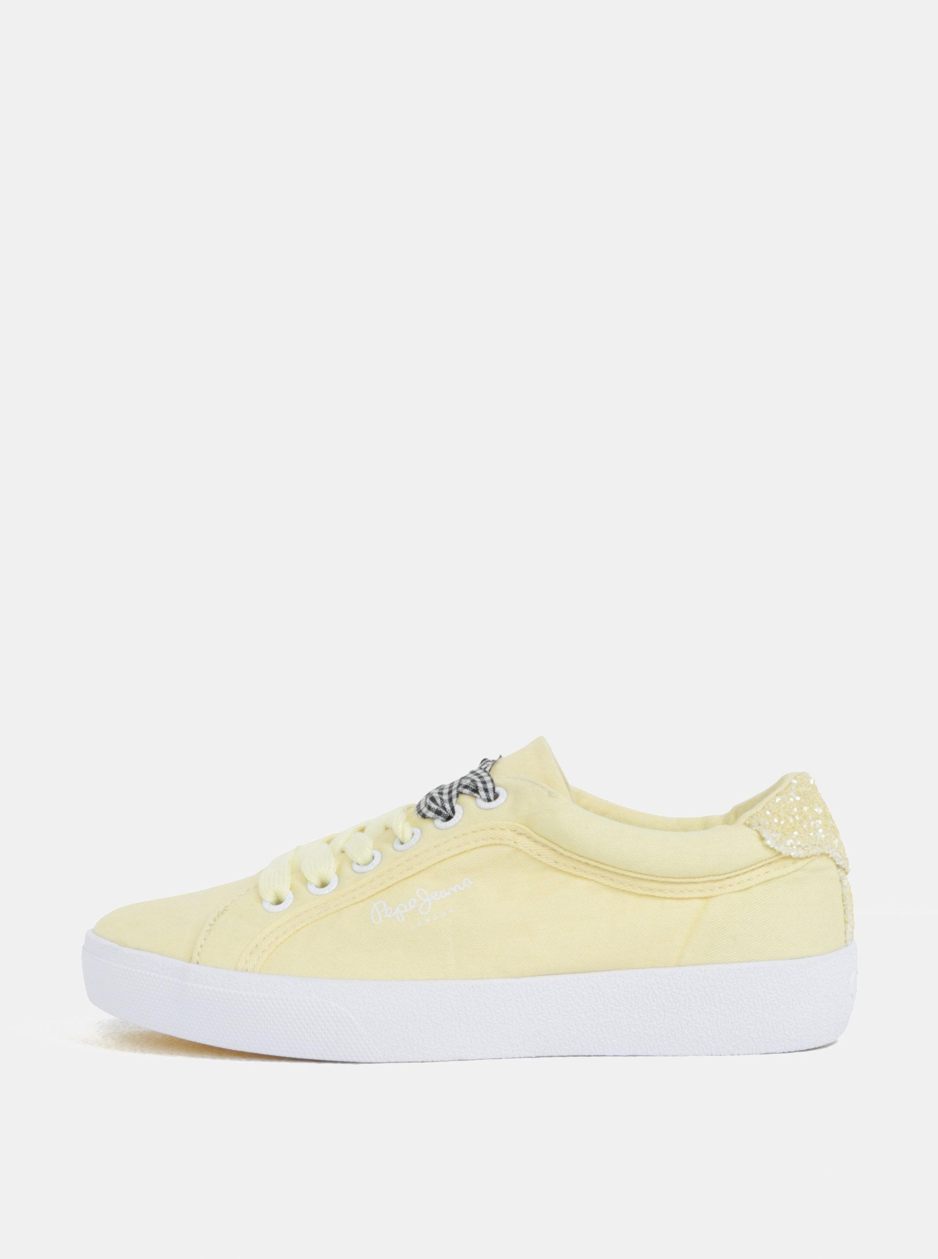 Žlté dámske plátenné tenisky na platforme Pepe Jeans Rene Skate ... 5378188fca
