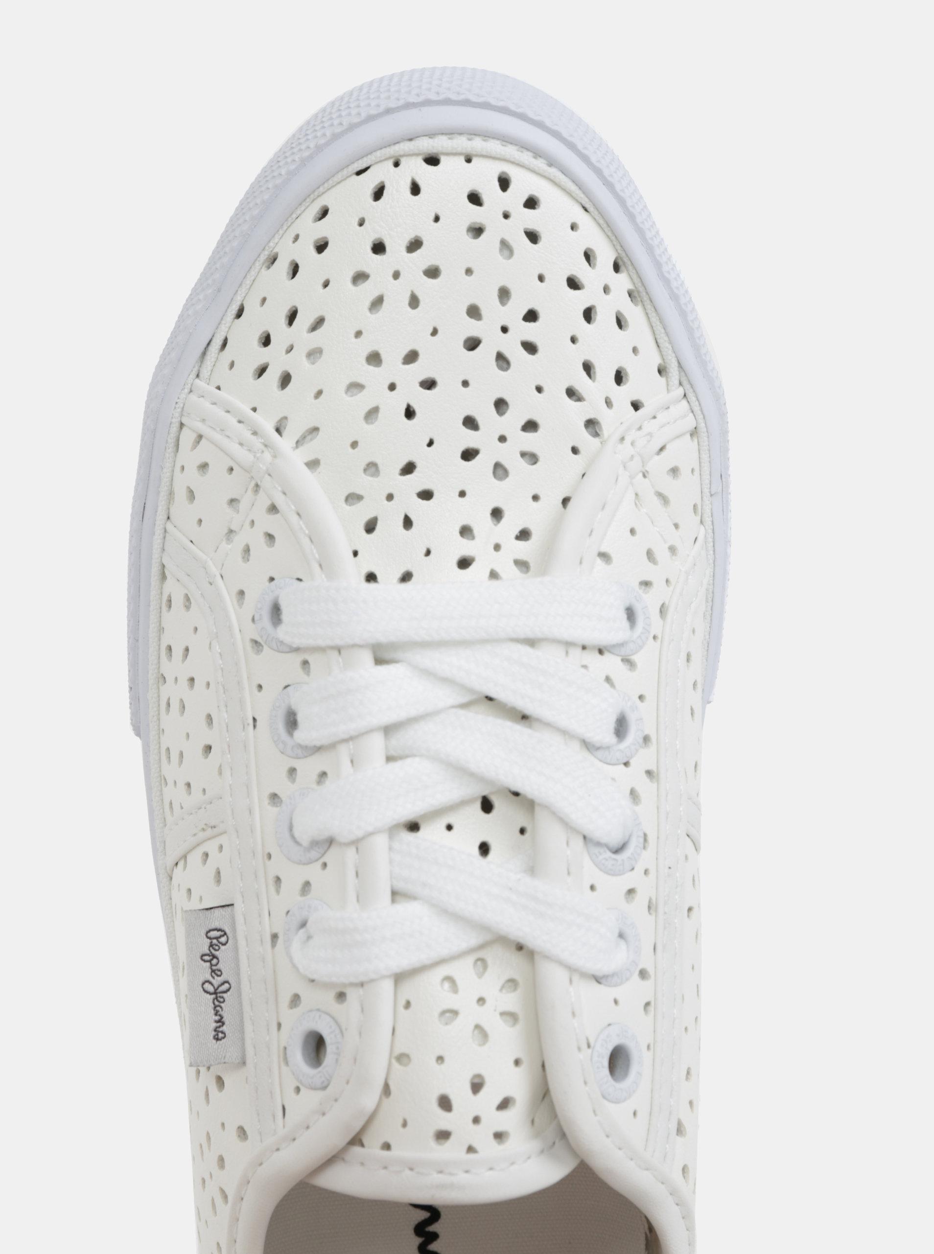 1444cf87b9b Bílé dámské perforované tenisky Pepe Jeans Aberlady daisy ...