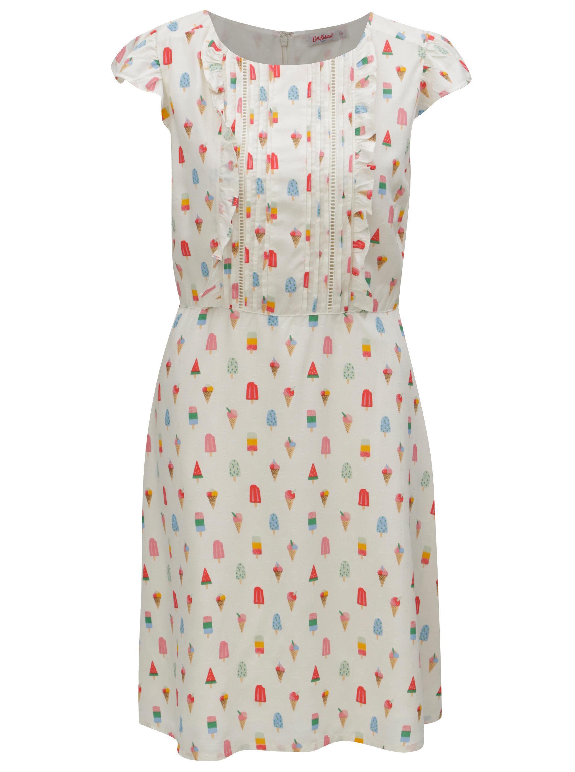 Krémové dámske šaty s motívom nanukov Cath Kidston ... 5c6bf211574