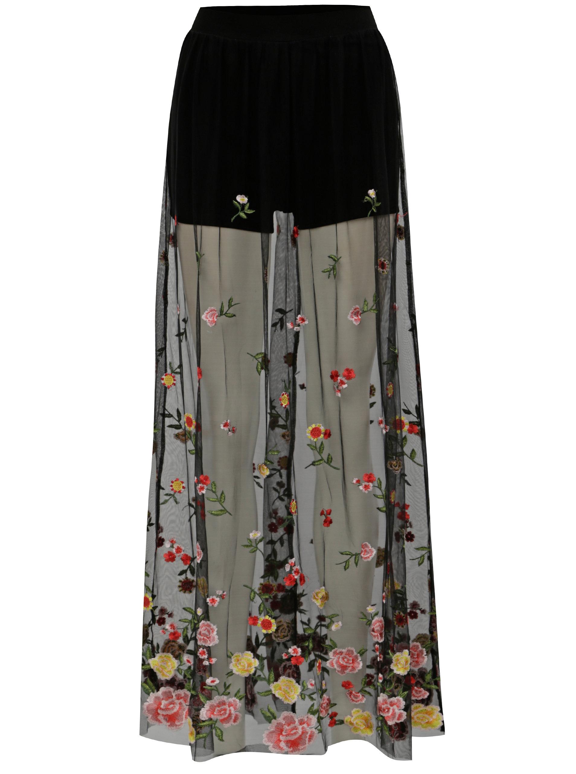580165c8012 Černá průsvitná maxi sukně s vyšívaným vzorem TALLY WEiJL ...