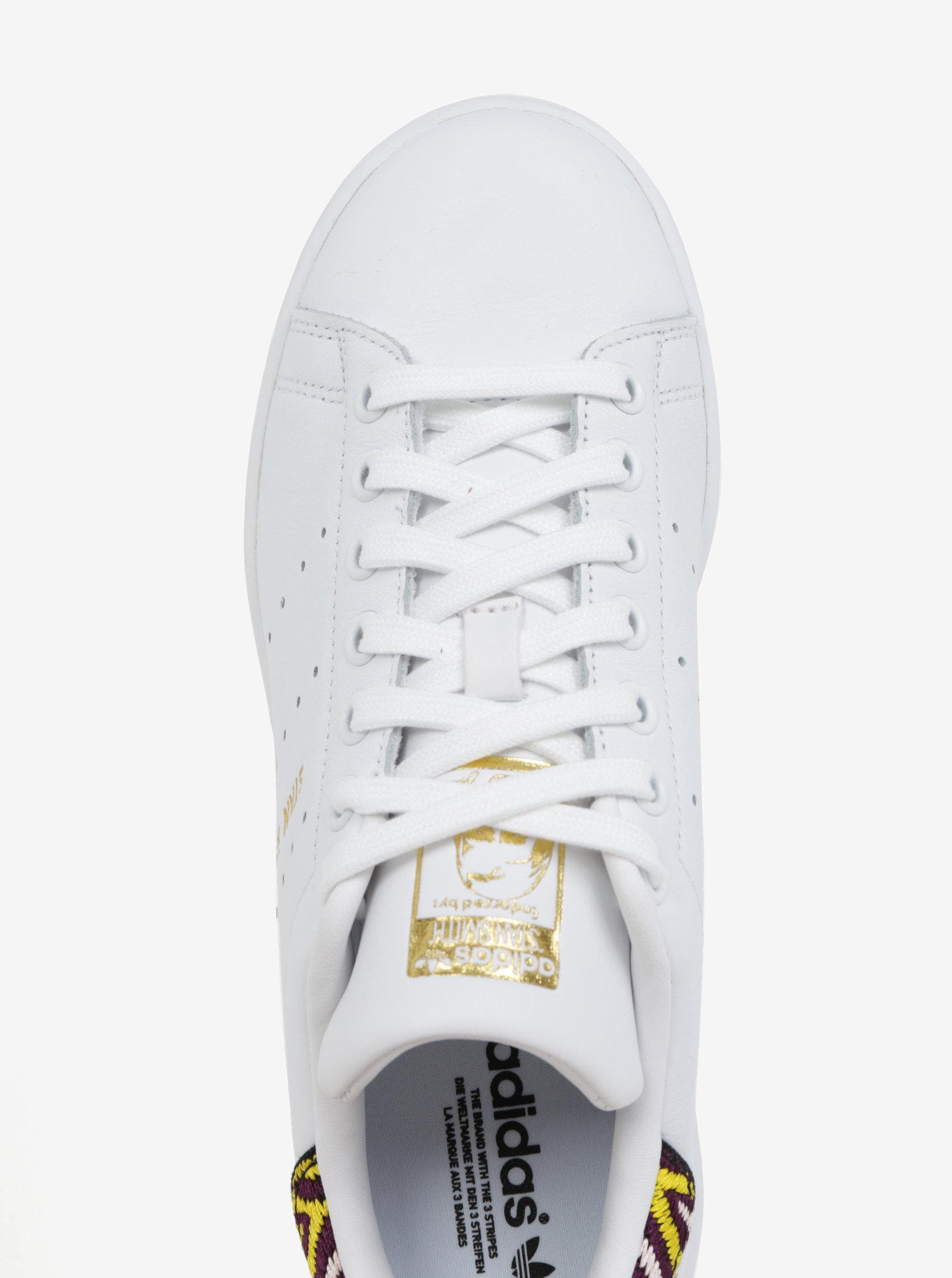 Bílé dámské kožené tenisky s vyšitým detailem adidas Originals Stan Smith  ... da3965ac00c
