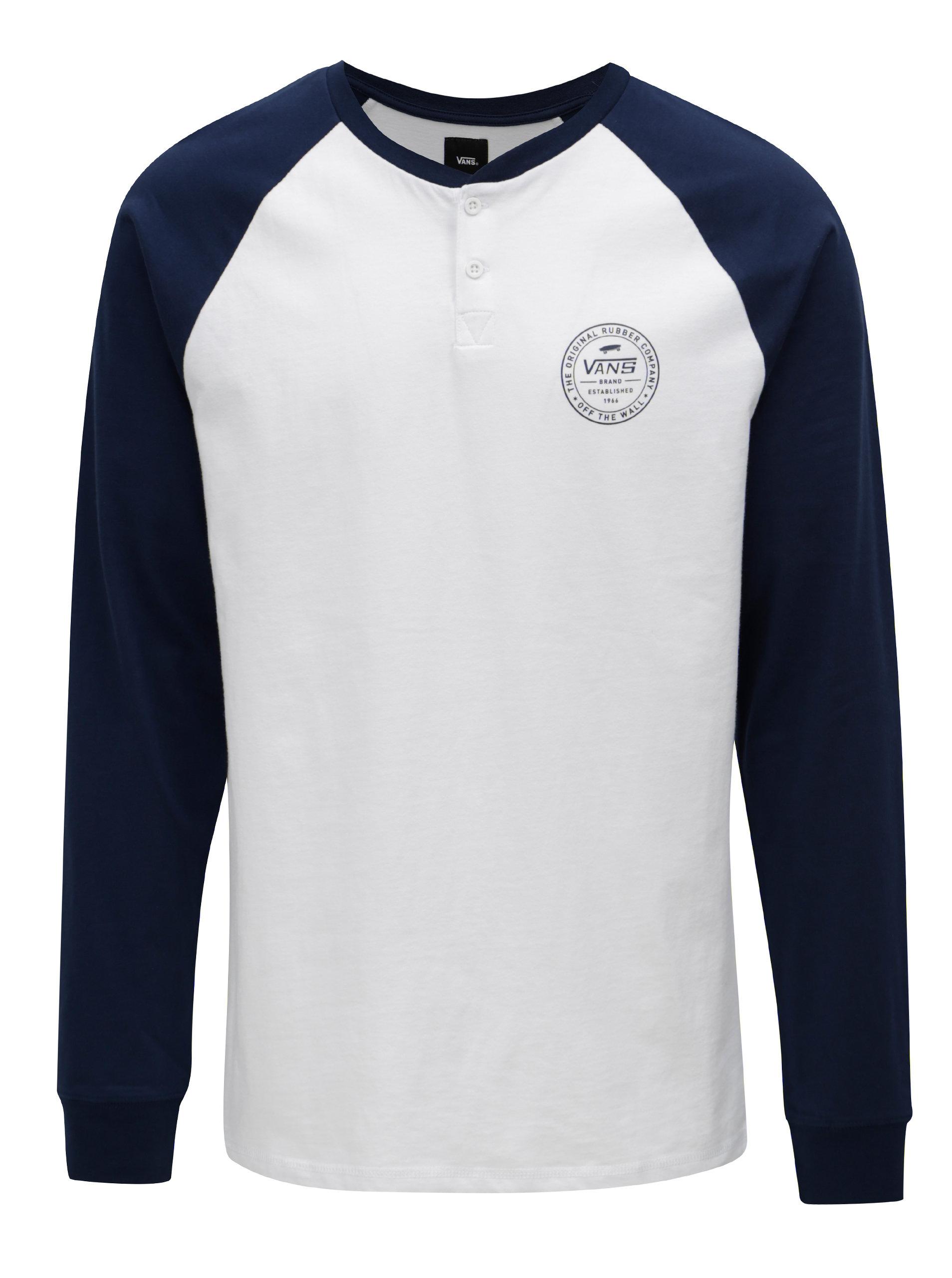 Modro–biele pánske tričko s gombíkmi VANS Denton ... ad3bfd7e14e