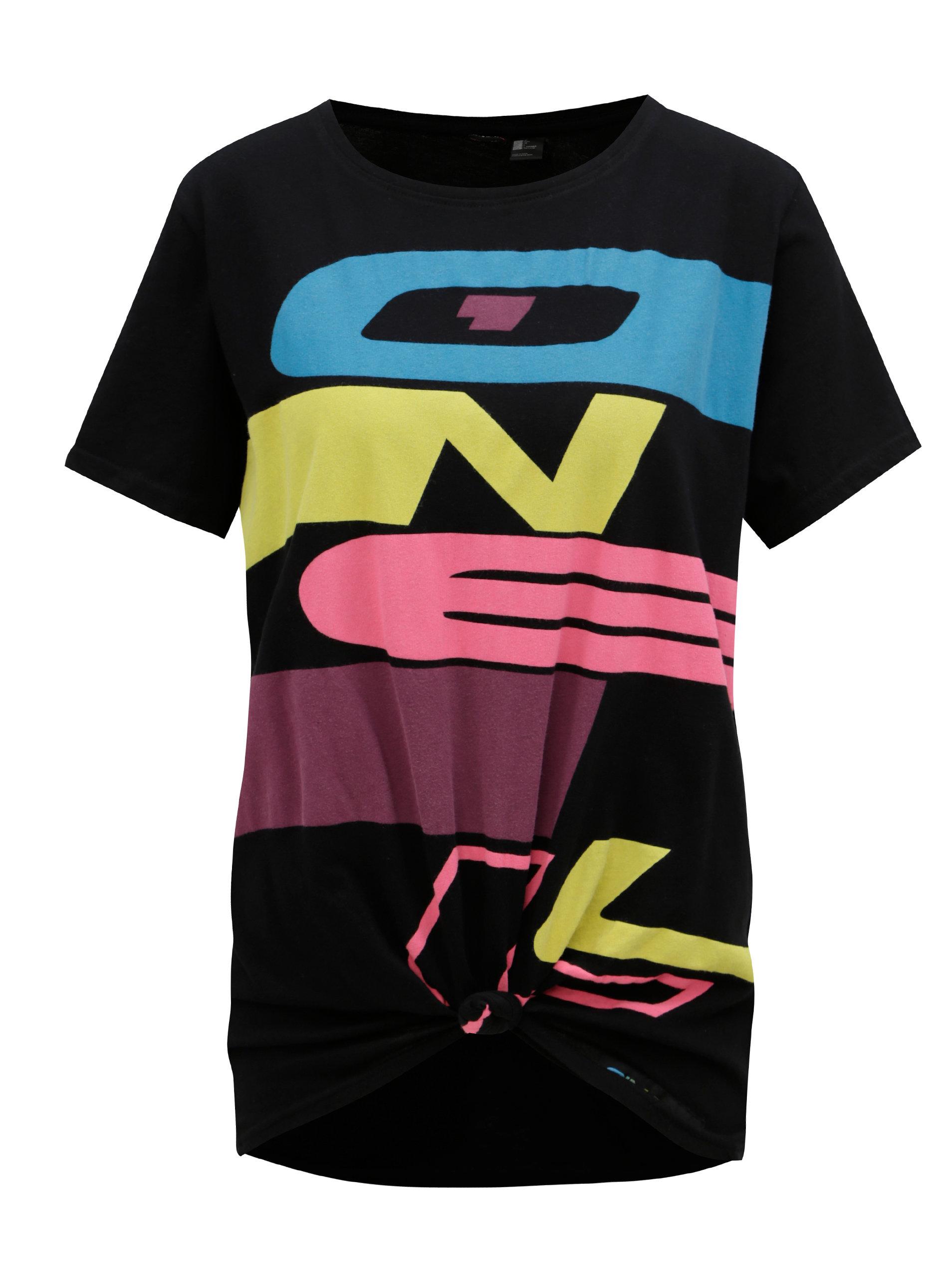 Černé dámské tričko s potiskem a uzlem O Neill Issue ... 837a8611a4