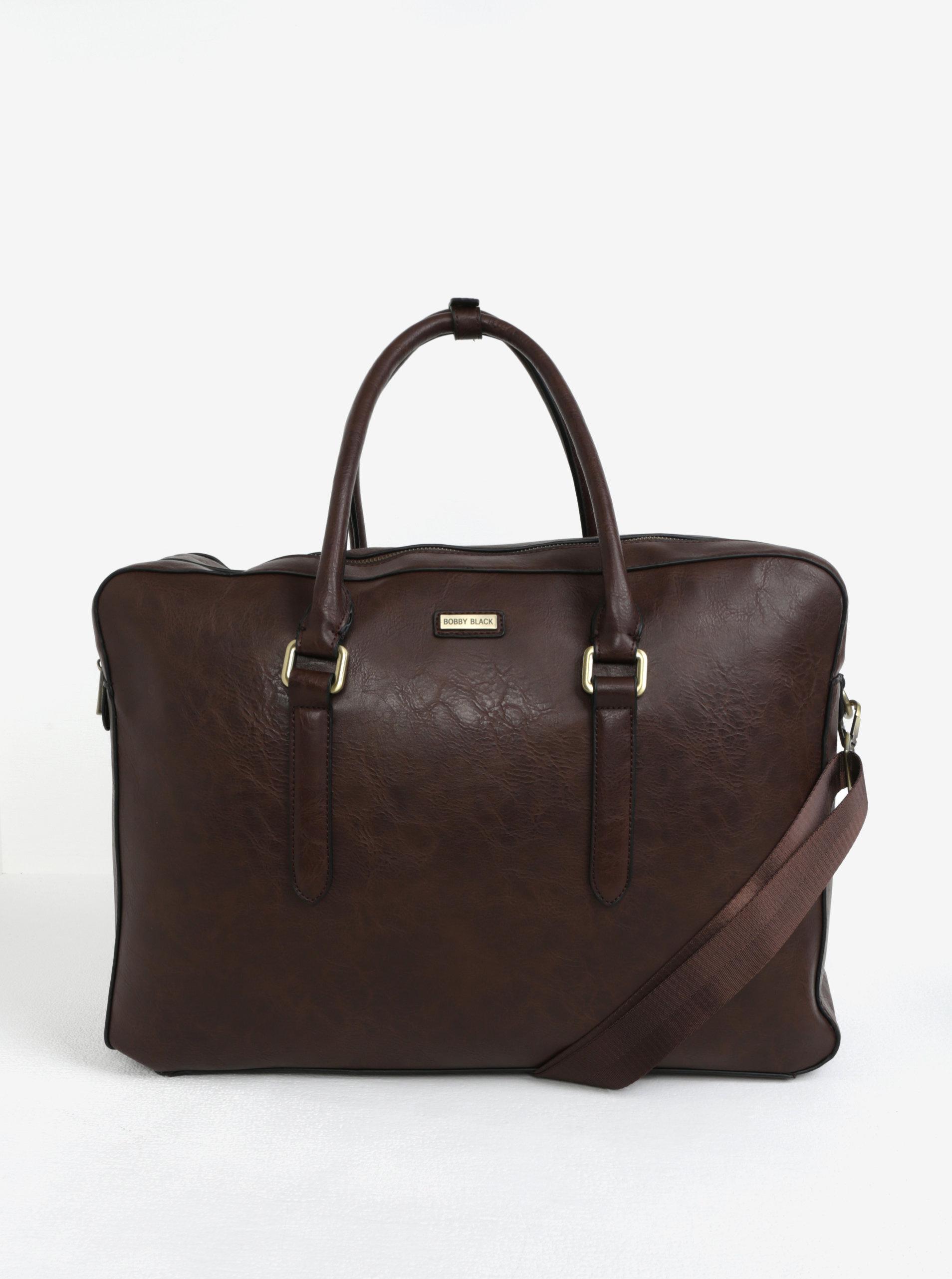 Tmavě hnědá koženková cestovní taška Bobby Black