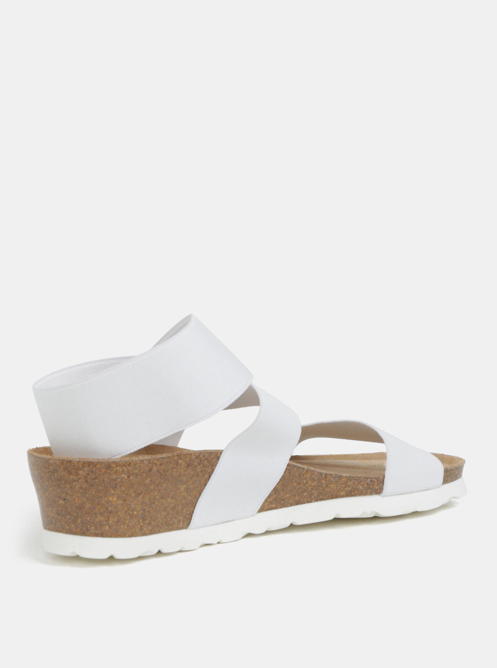 65359d0166ff Bílé sandály na klínku s elastickými pásy OJJU ...