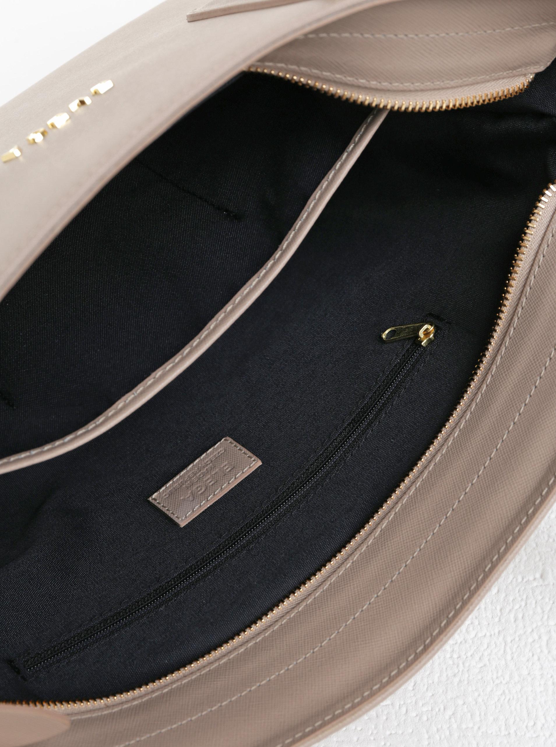 738f24c403 Béžová kožená kabelka cez rameno ELEGA Simone