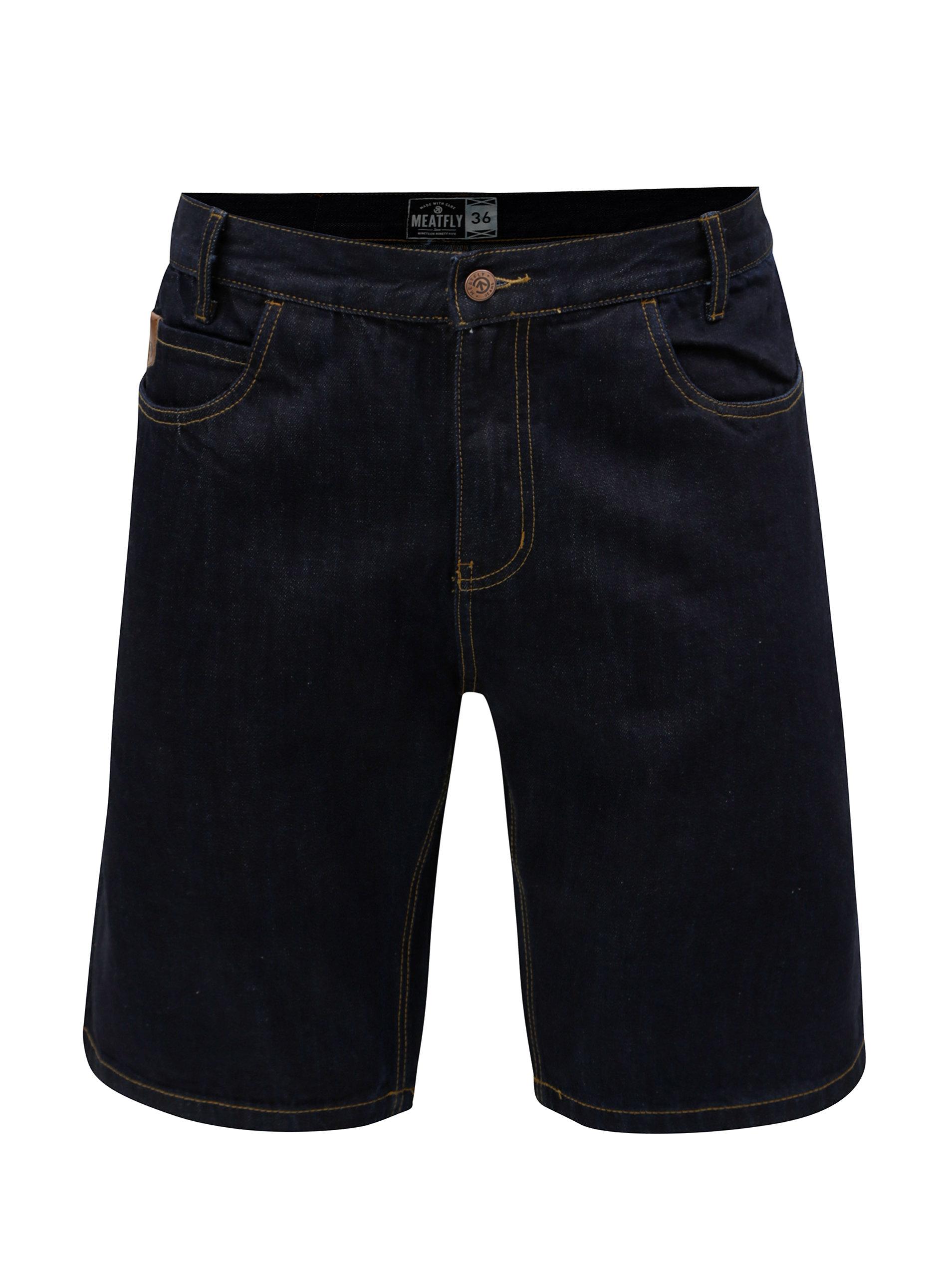 Tmavě modré pánské džínové kraťasy MEATFLY Just ... fe23fc69db