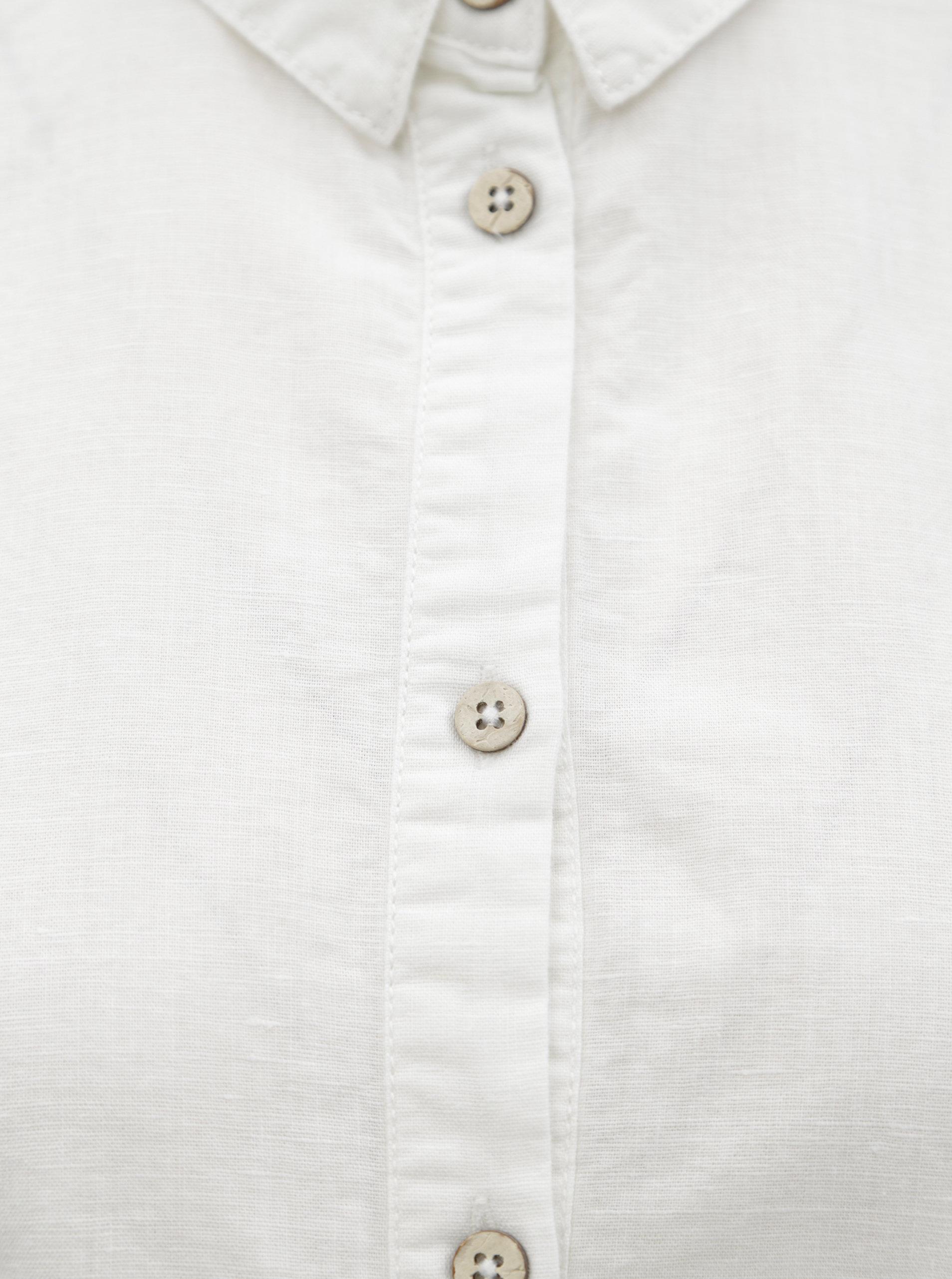 Bílé košilové lněné šaty s dlouhým rukávem Garcia Jeans ... 62524ca520