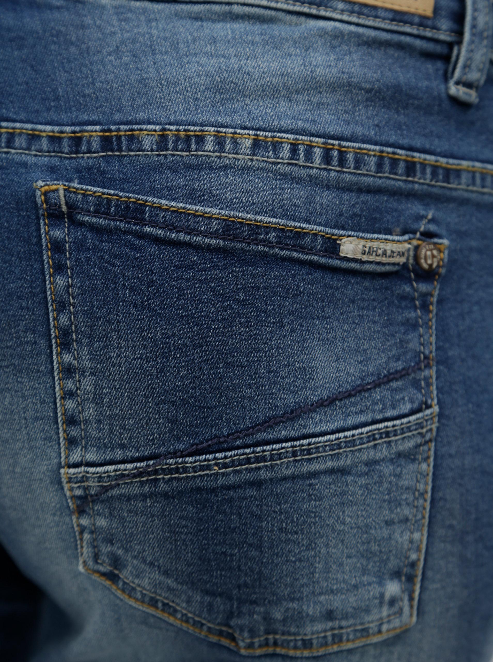 Modré dámské slim fit kraťasy s vyšisovaným efektem a nízkým pasem Garcia  Jeans Rachelle ... 2045585e19