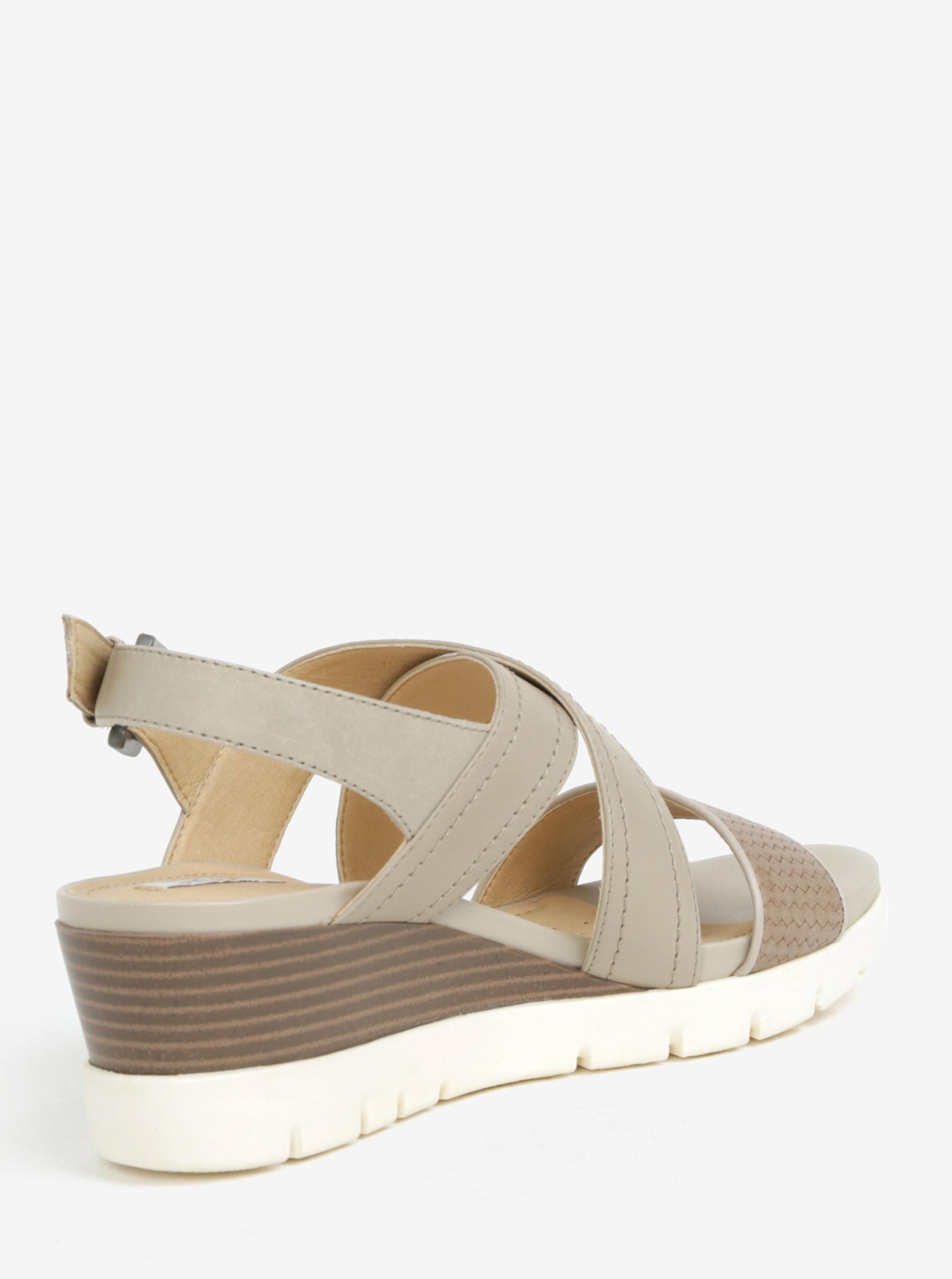 8b58a90254 Krémové kožené dámske sandále na klinovom podpätku Geox Marykarmen ...
