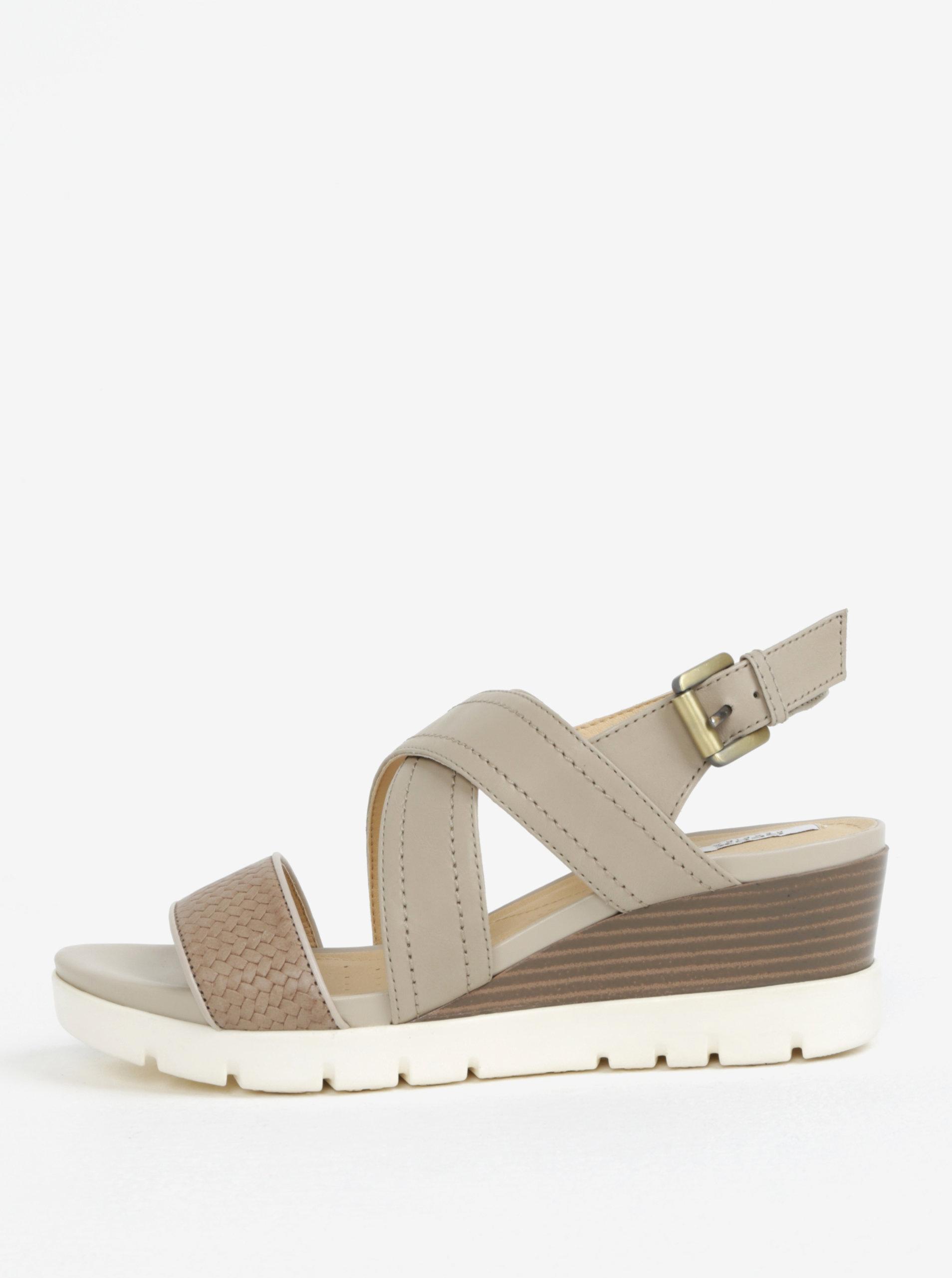 1670996cbc Krémové kožené dámske sandále na klinovom podpätku Geox Marykarmen ...