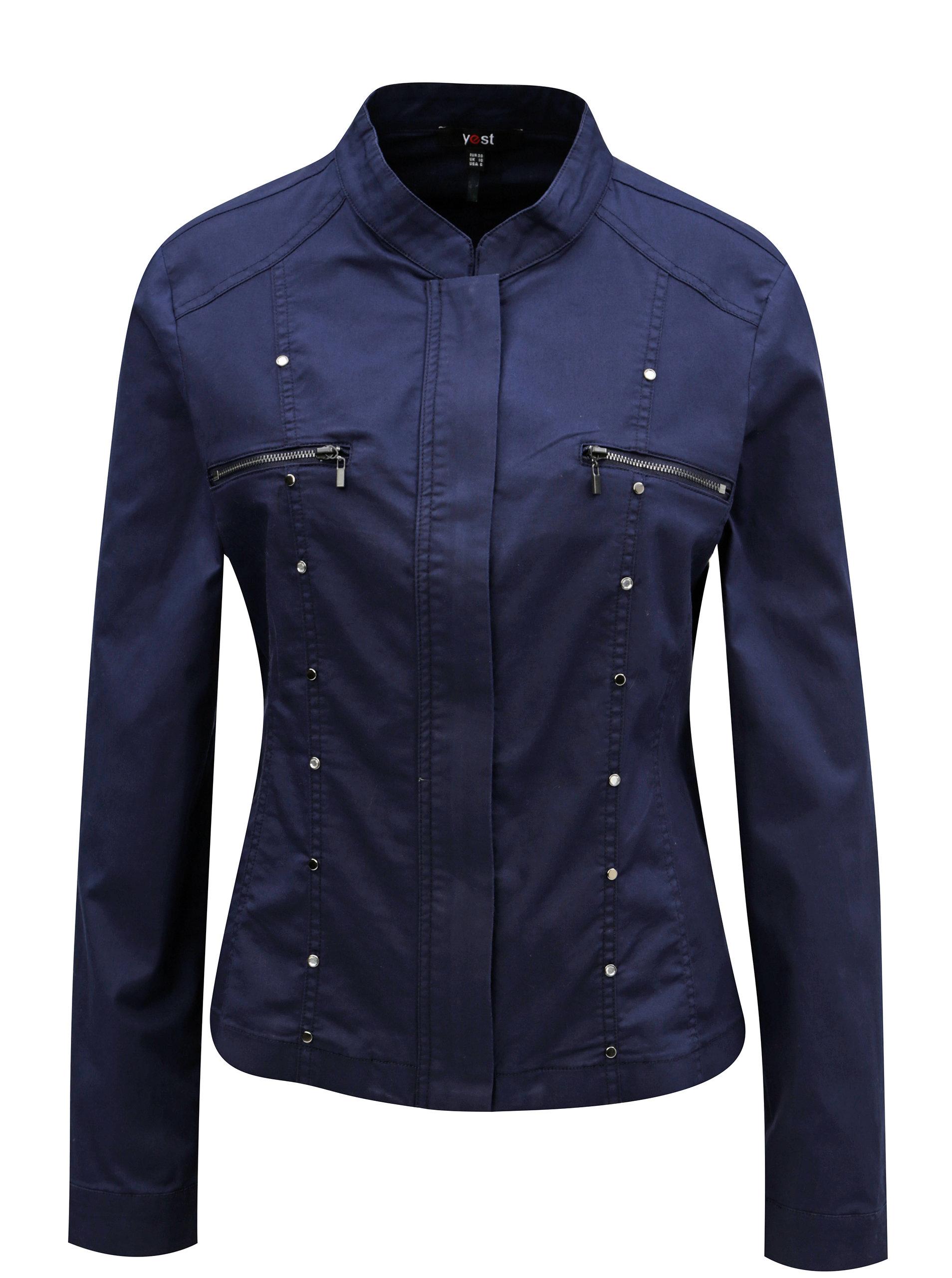 Tmavě modrá lehká bunda s kovovou aplikací Yest
