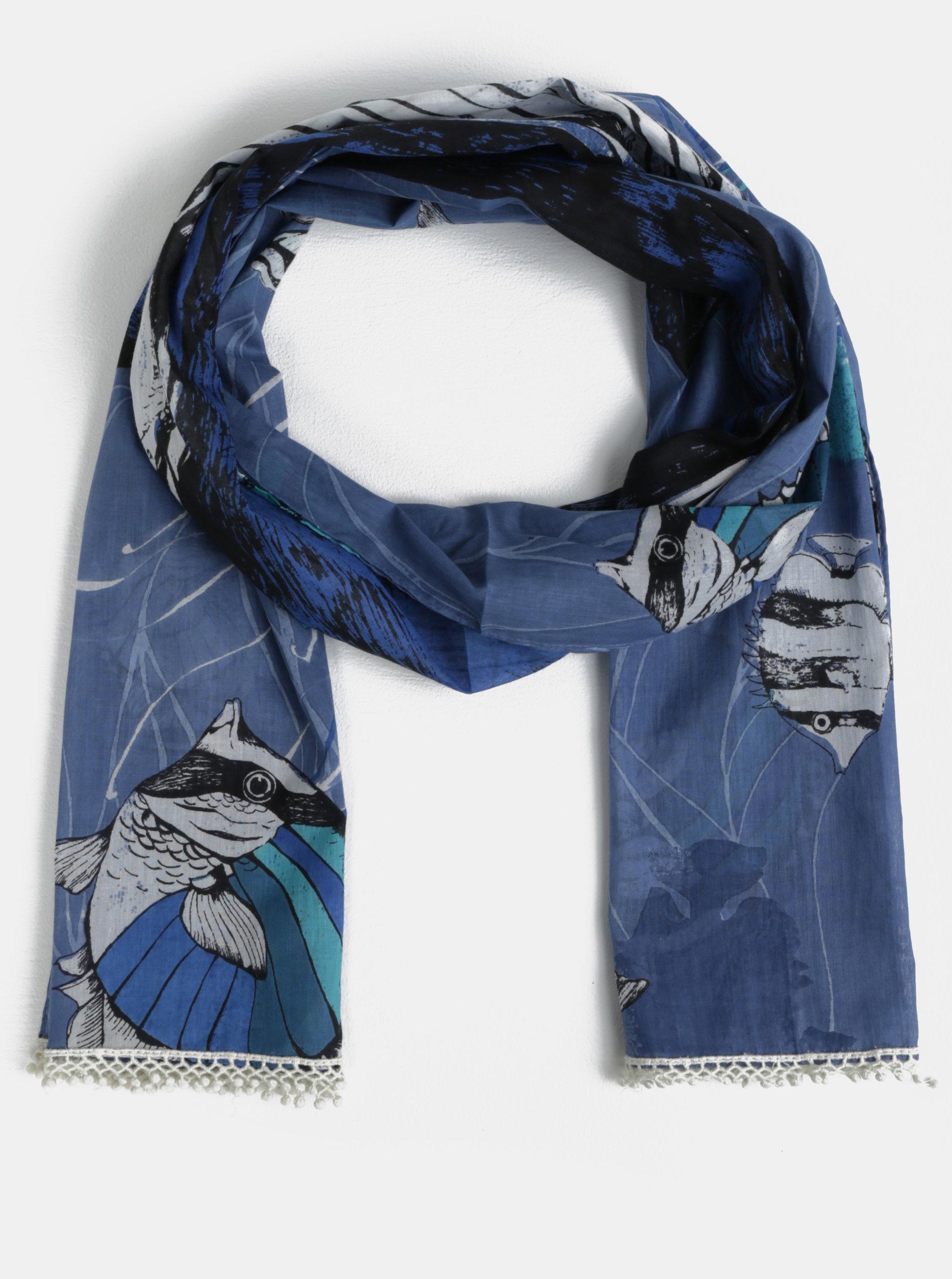 Modrý šátek s motivem velryby Disaster Scarf