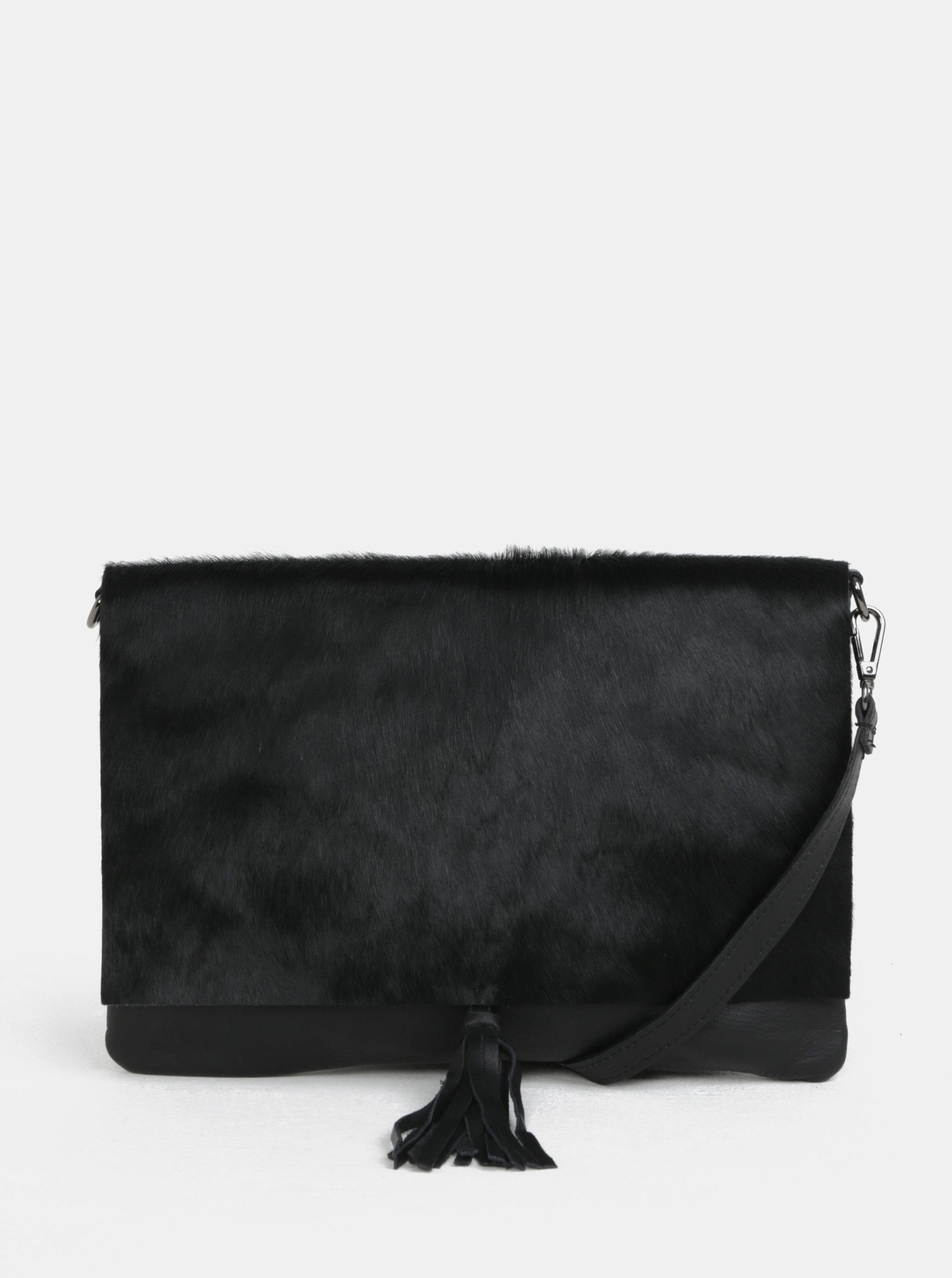 Čierna kožená crossbody kabelka s kožušinovou chlopňou ZOOT ... 723b0640d55