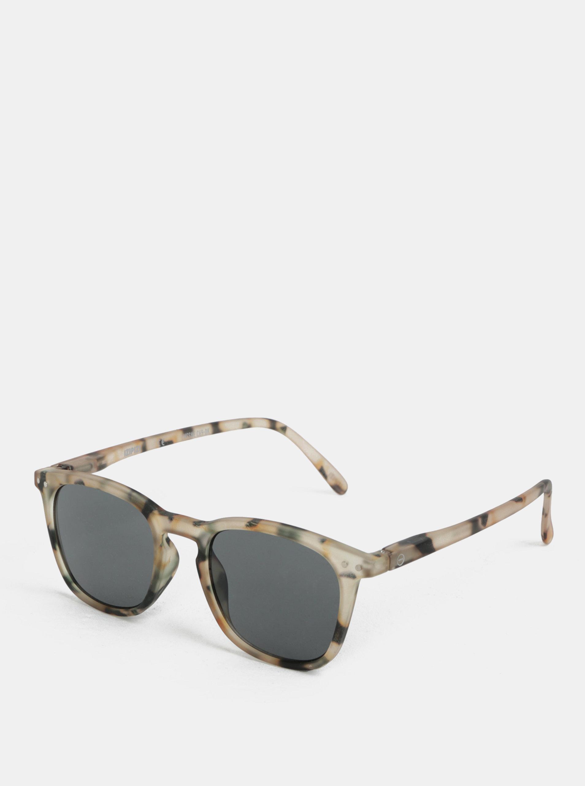 Černo-béžové vzorované sluneční brýle IZIPIZI  #E