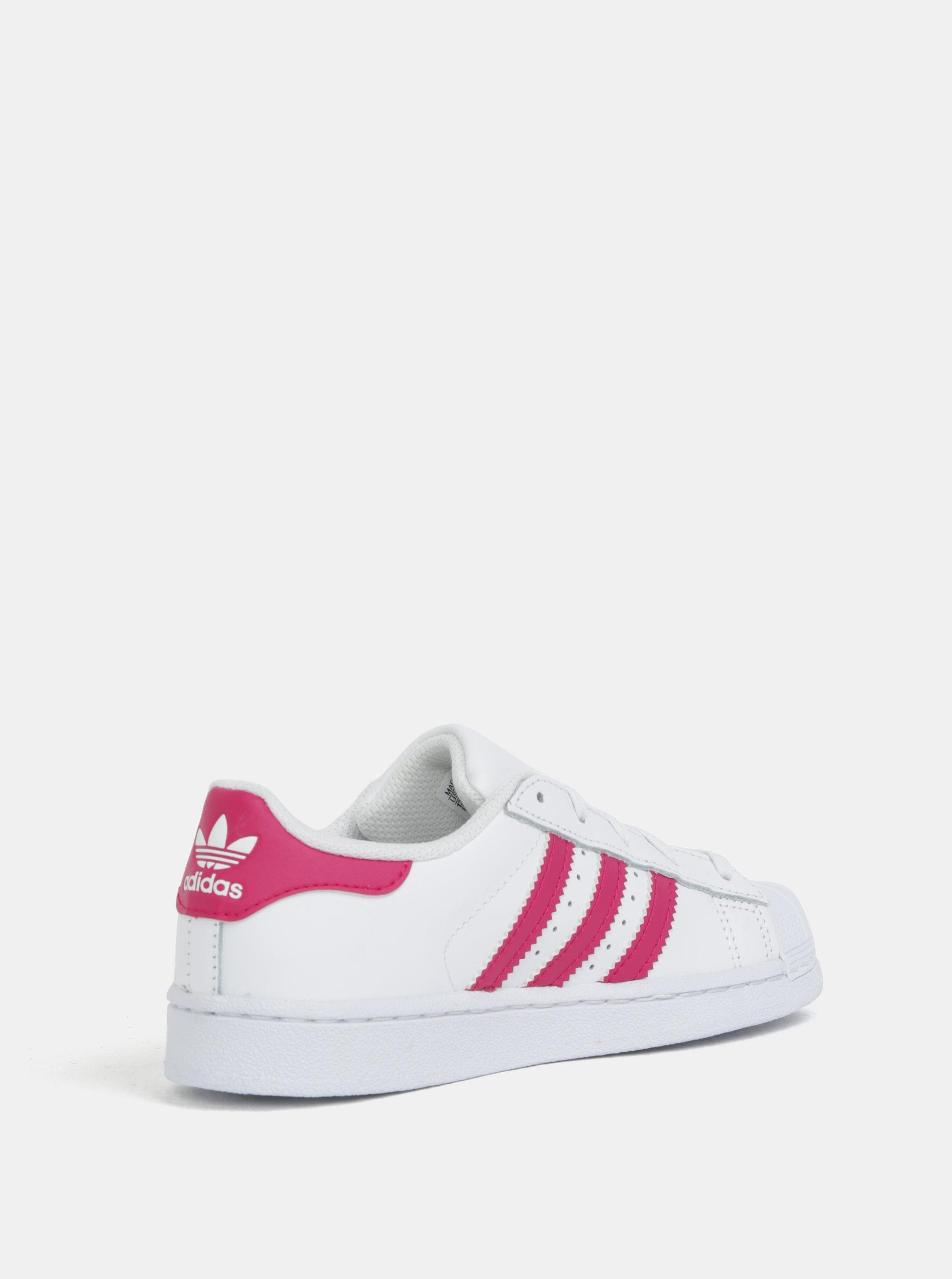929aa9fc3b18e Biele detské kožené tenisky s ružovými pruhmi adidas Originals SUPERSTAR C  ...