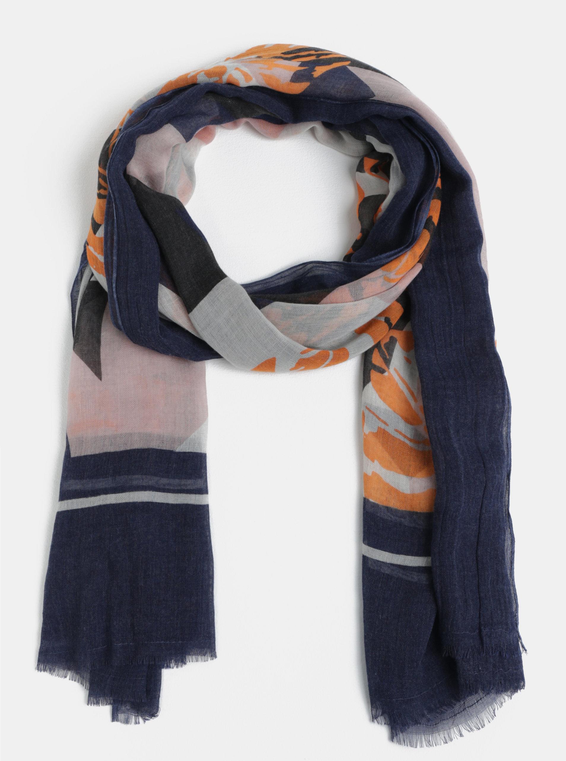 Oranžovo-modrý vzorovaný šátek Pieces Dawn