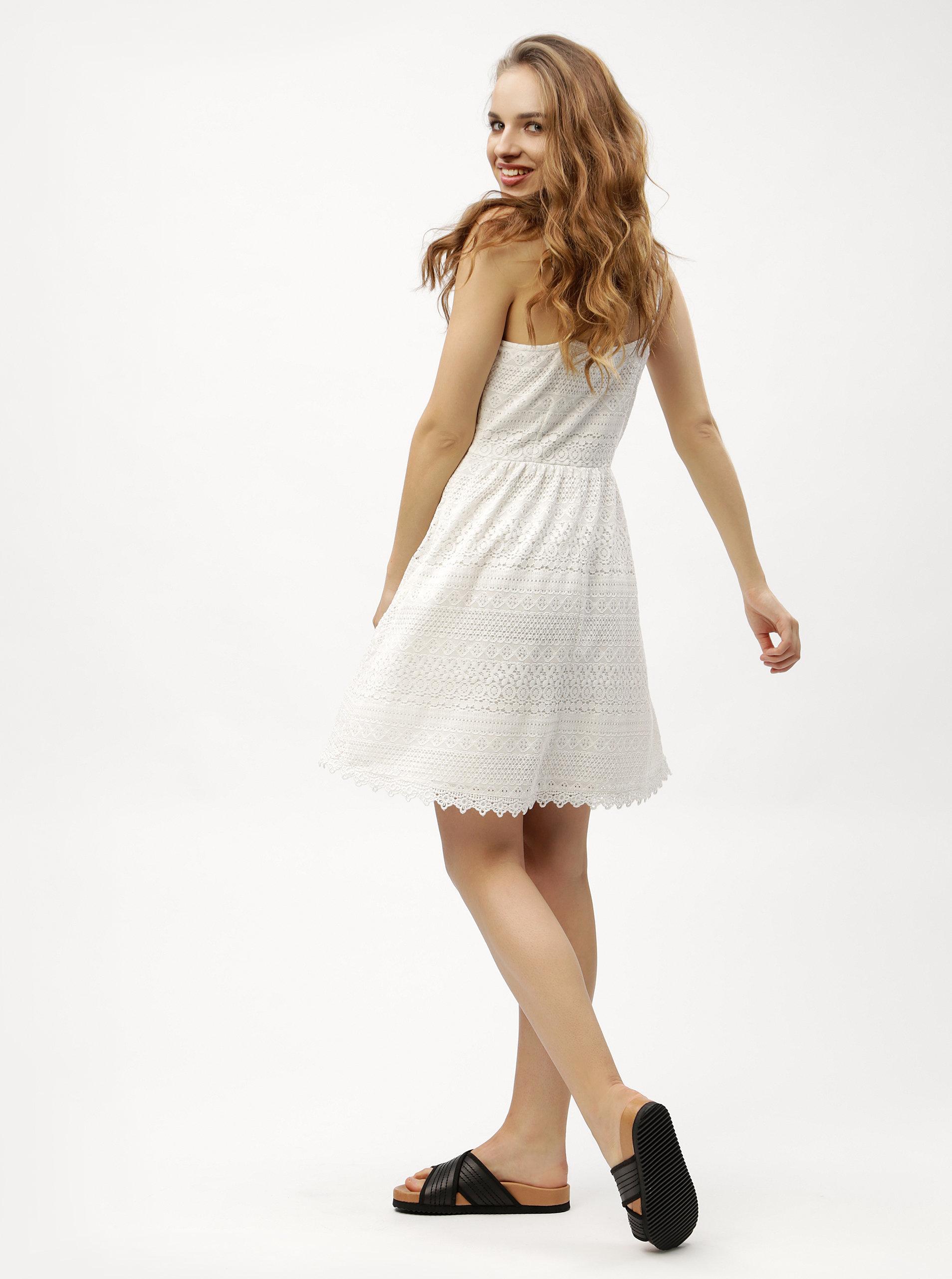 Biele čipkované šaty VERO MODA Honey ... 9c79b44542b
