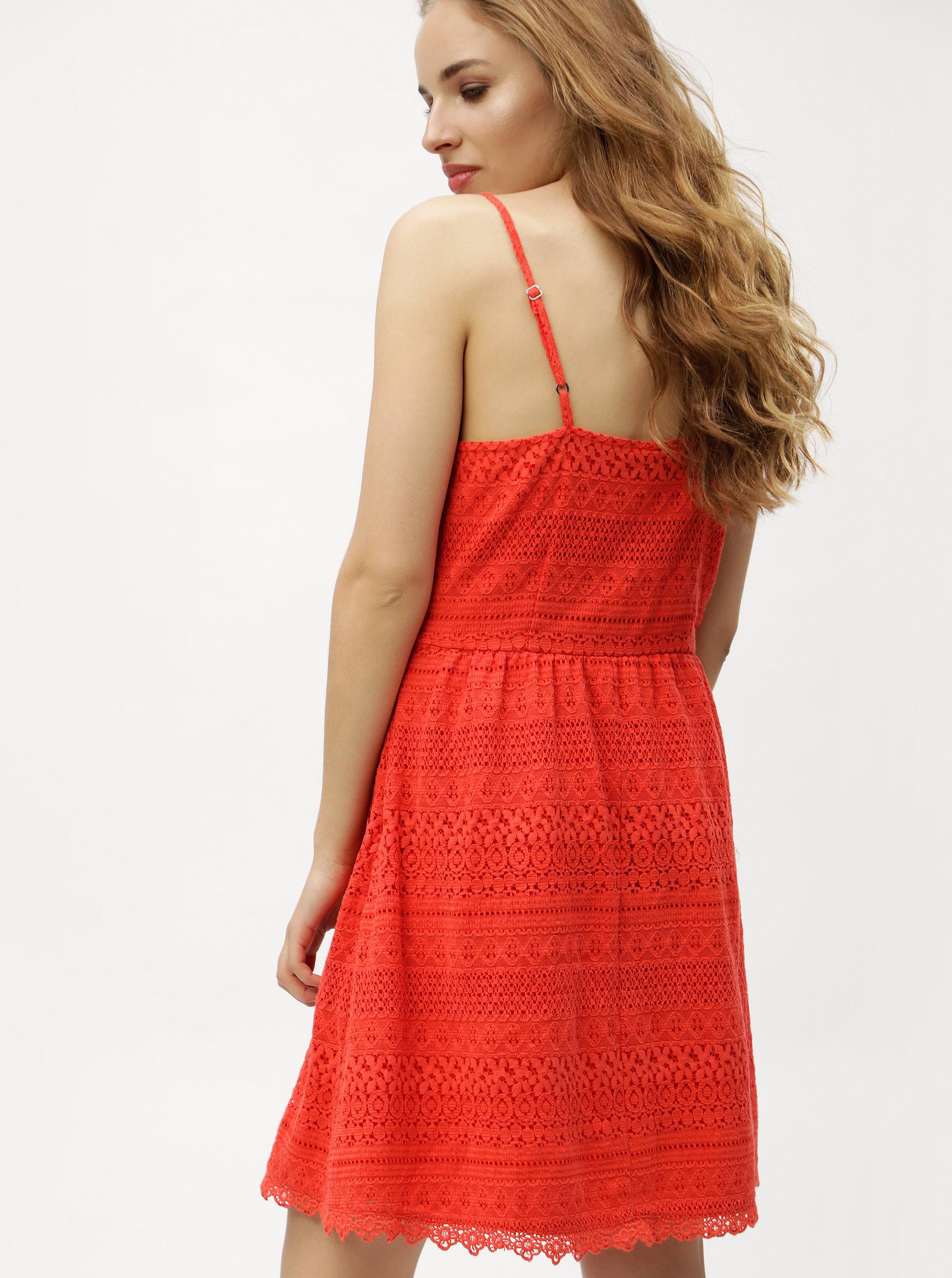 575c9d7aa48 Červené krajkové šaty VERO MODA Honey ...